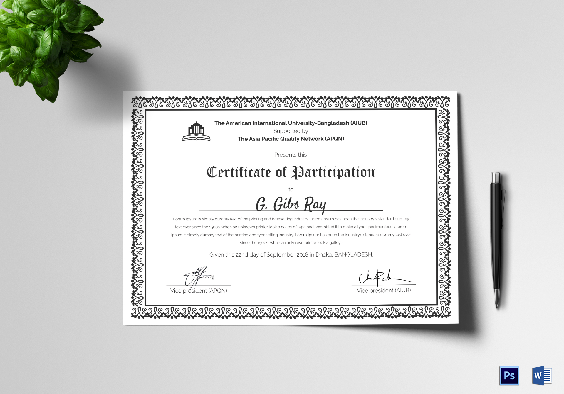 Printable Participation Certificate Design Template in PSD ...
