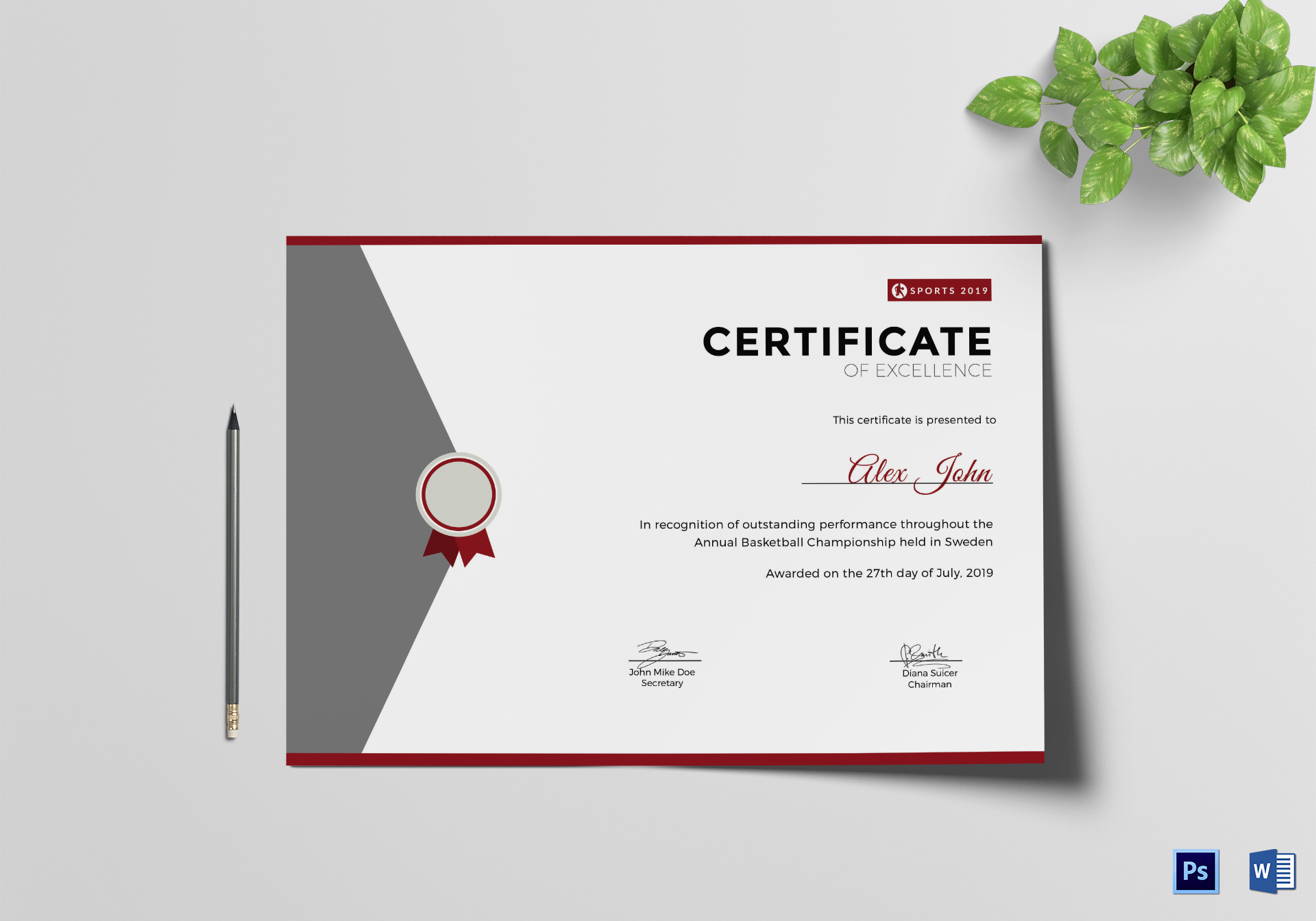 Prize excellence certificate design template in psd word prize excellence certificate template xflitez Image collections