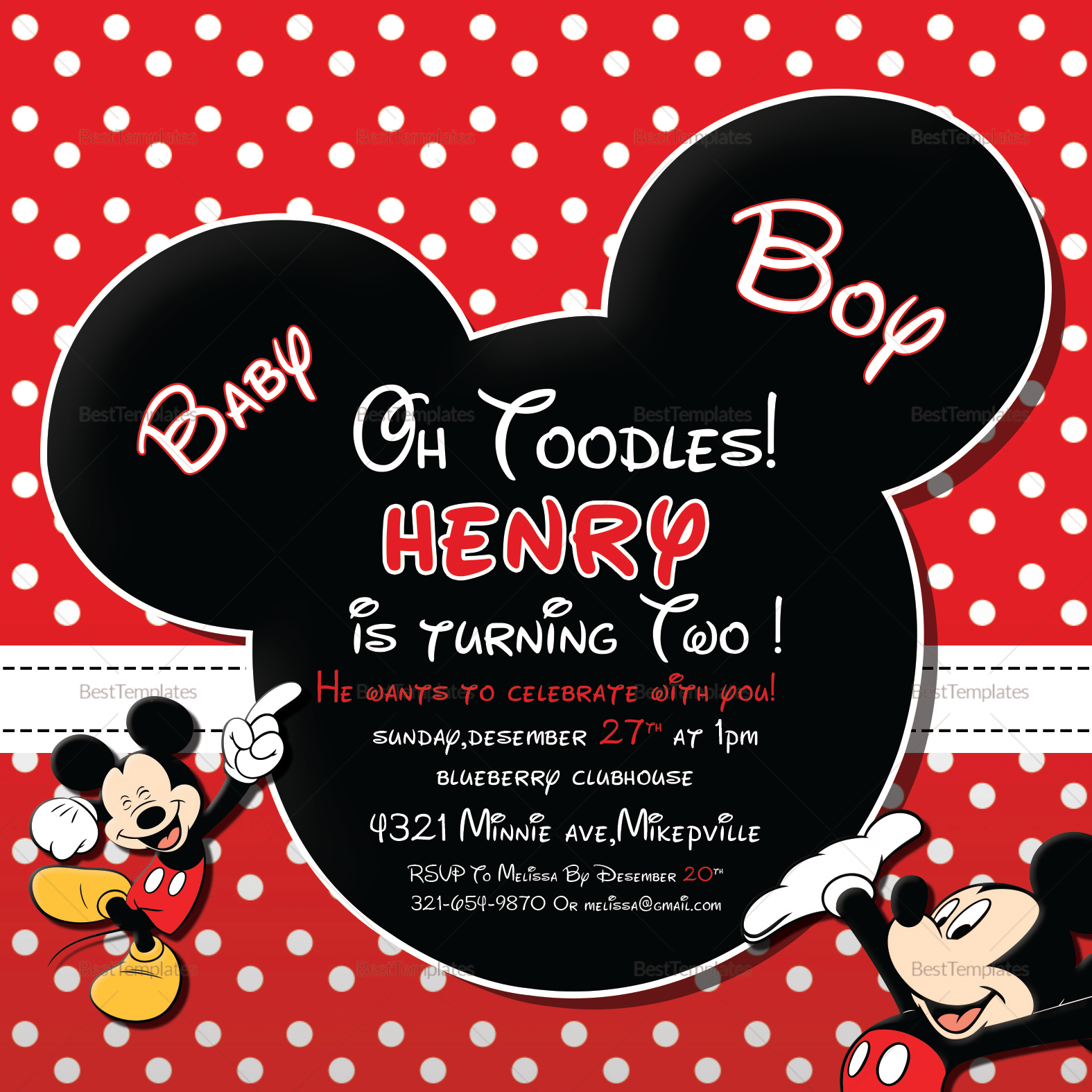 Cute Mickey Mouse Birthday Invitation Design Template in PSD, Word ...