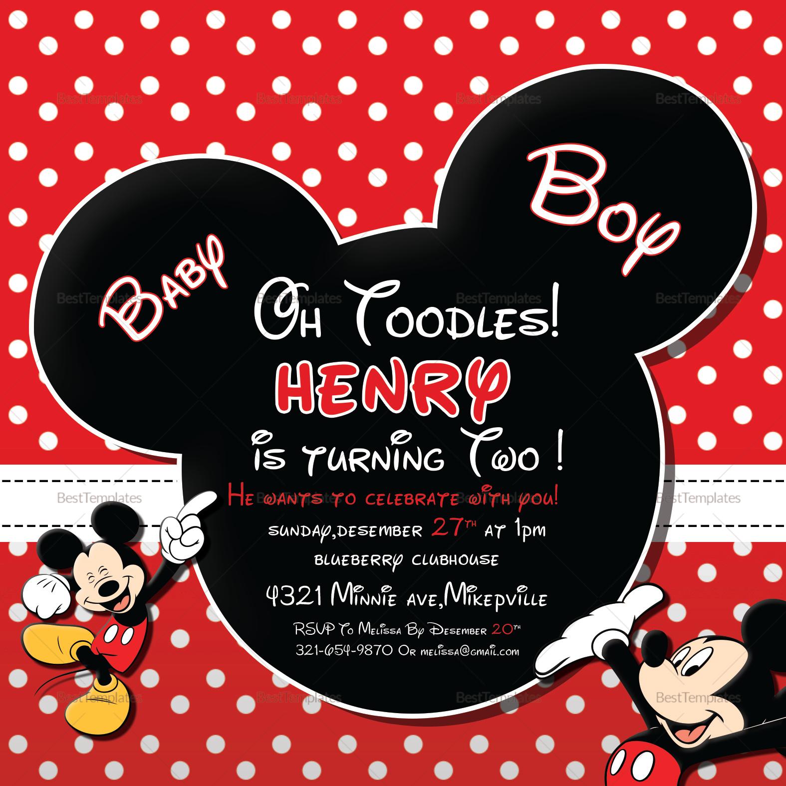 Cute Mickey Mouse Birthday Invitation Design Template in ...