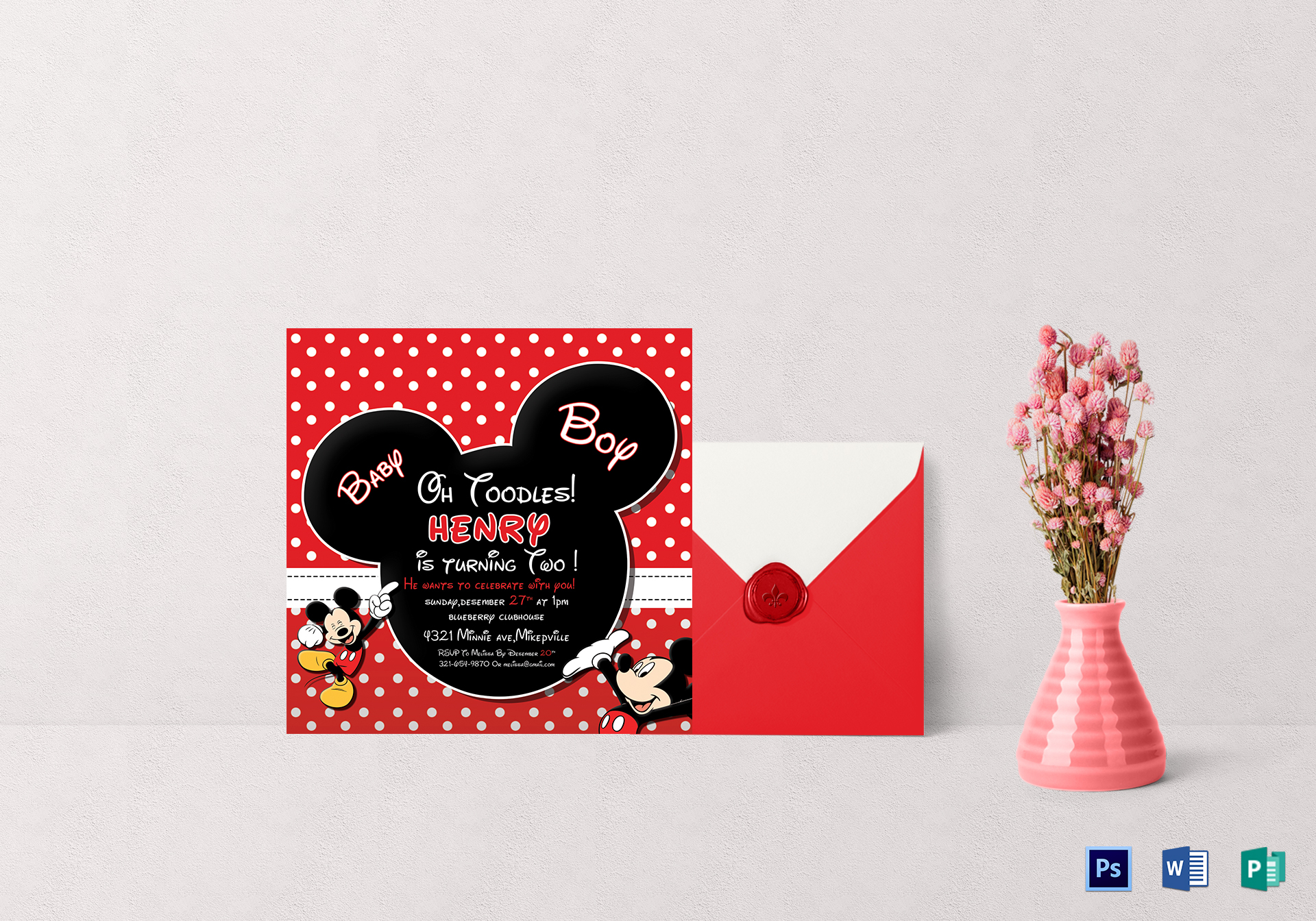 Cute Mickey Mouse Birthday Invitation Design Template in PSD Word