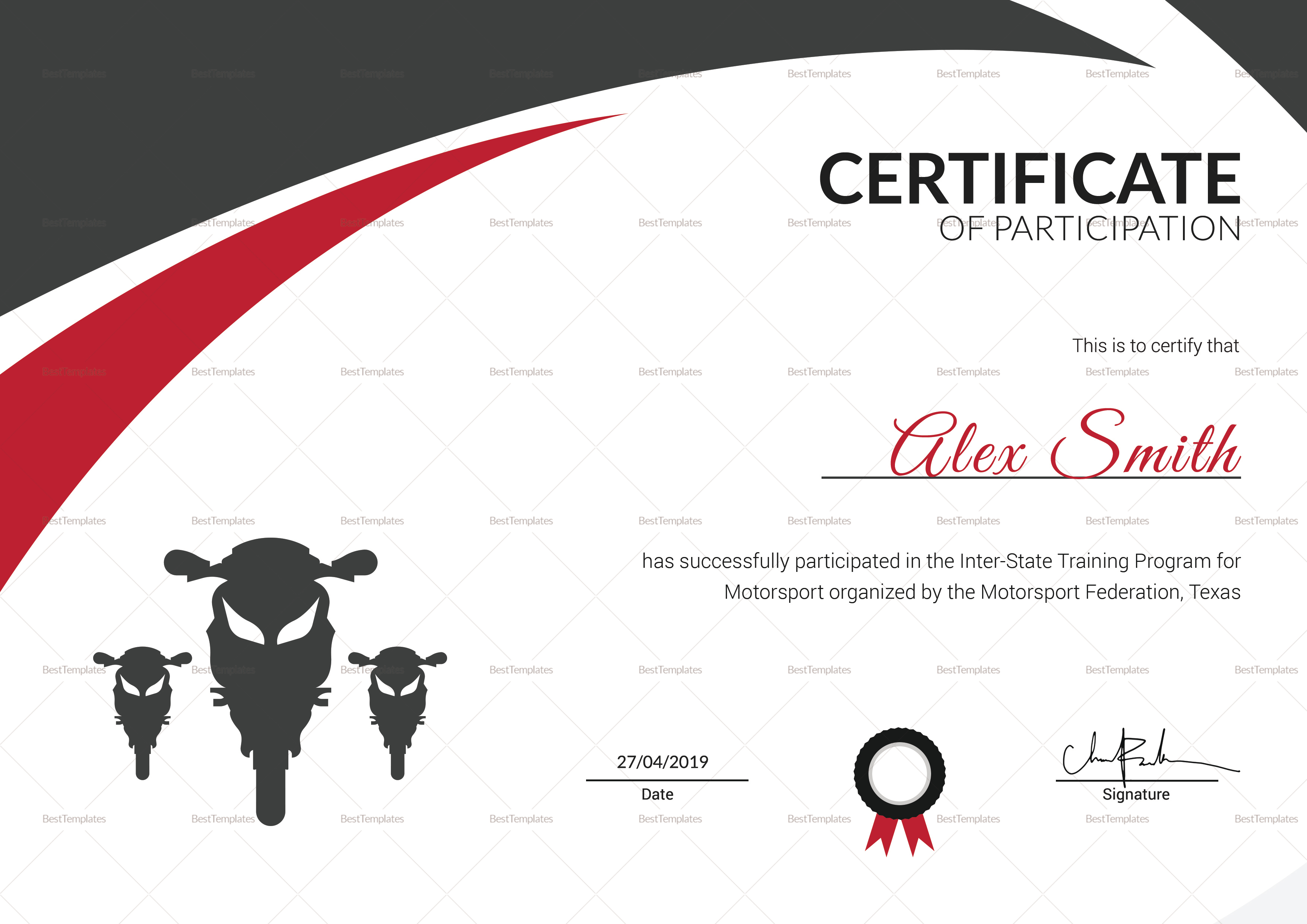 motorsport training certificate design template in psd word