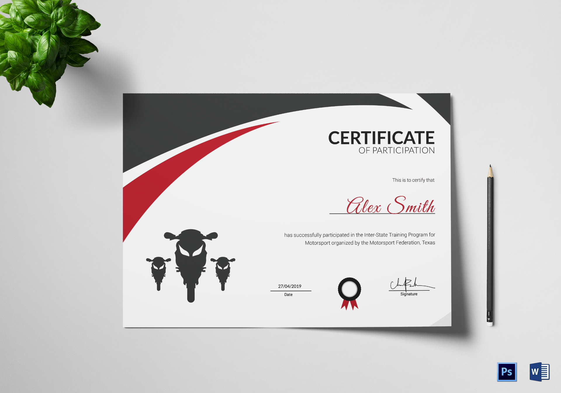 Motorsport training certificate design template in psd word for Motosport templates
