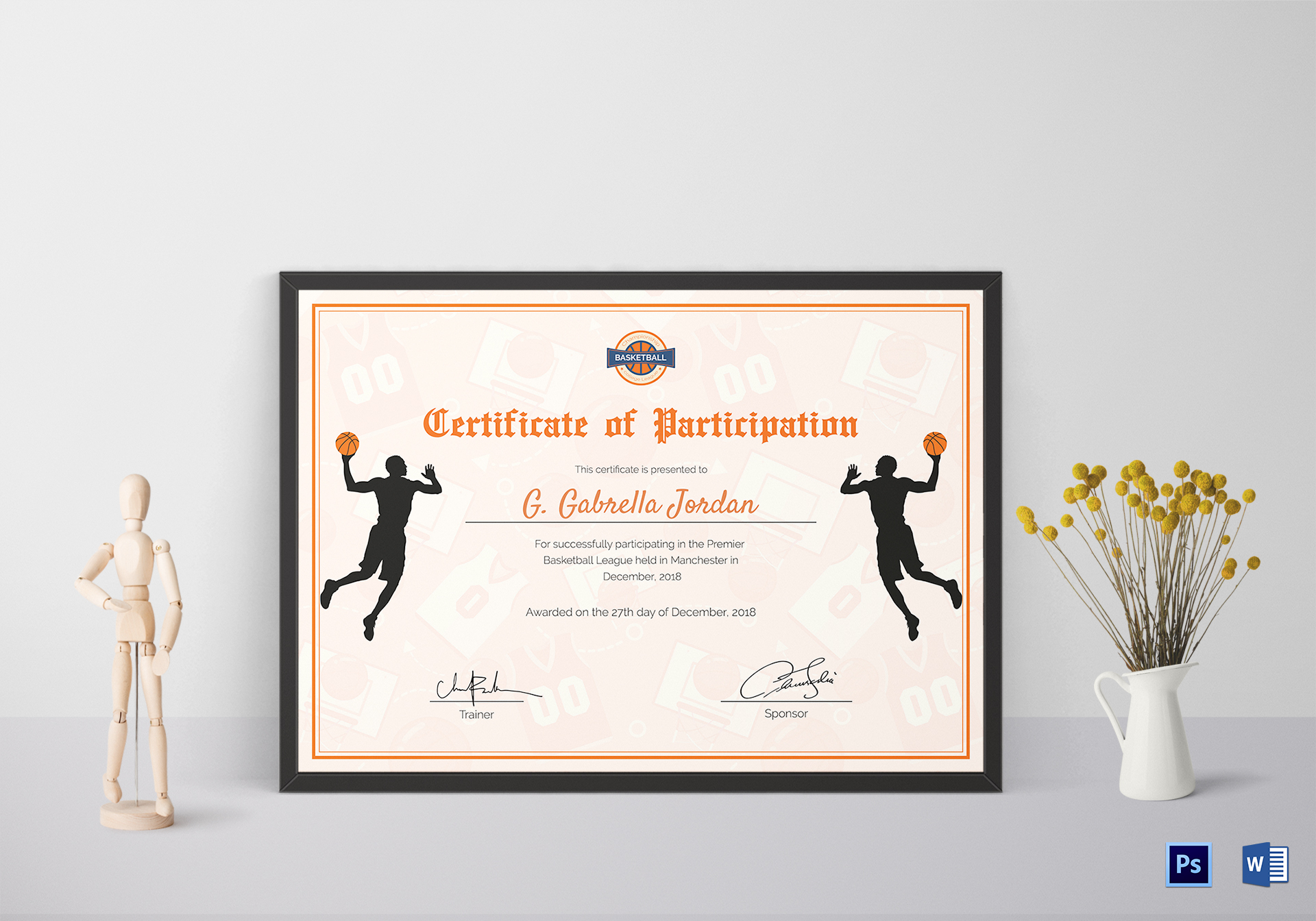 Sample Basketball Participation Certificate