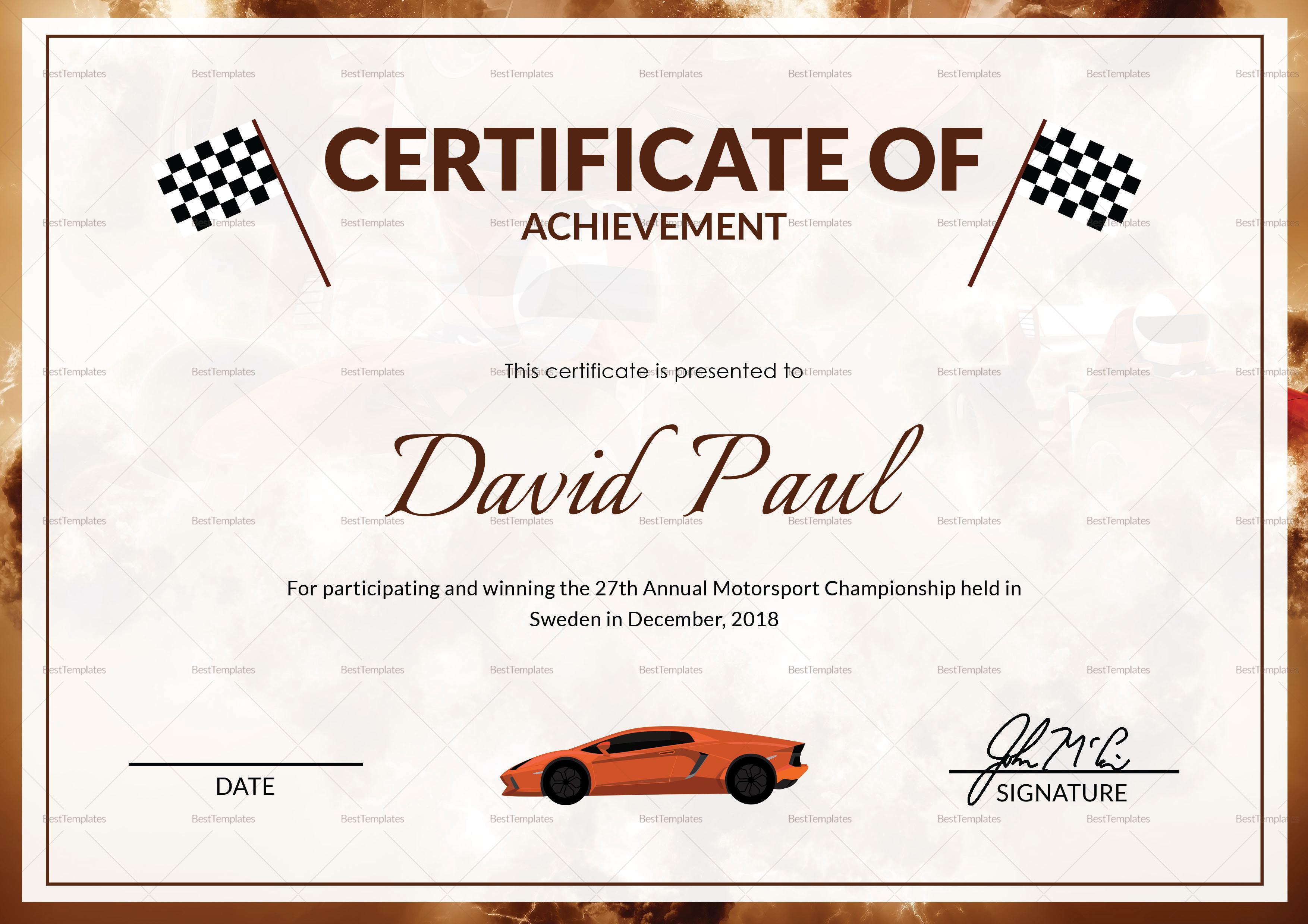 Motorsport Champion Certificate Template