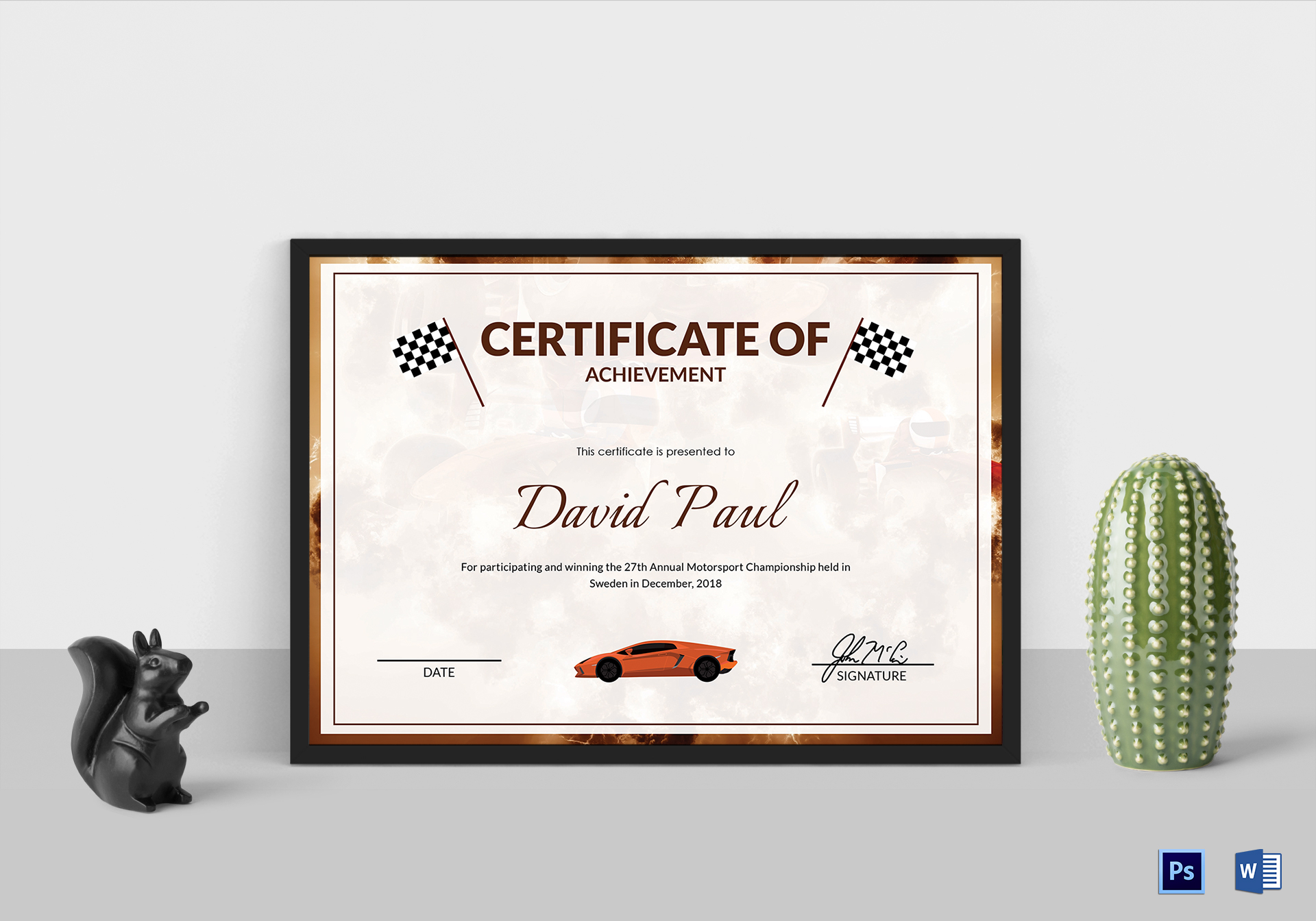 motorsport champion certificate design template in psd word