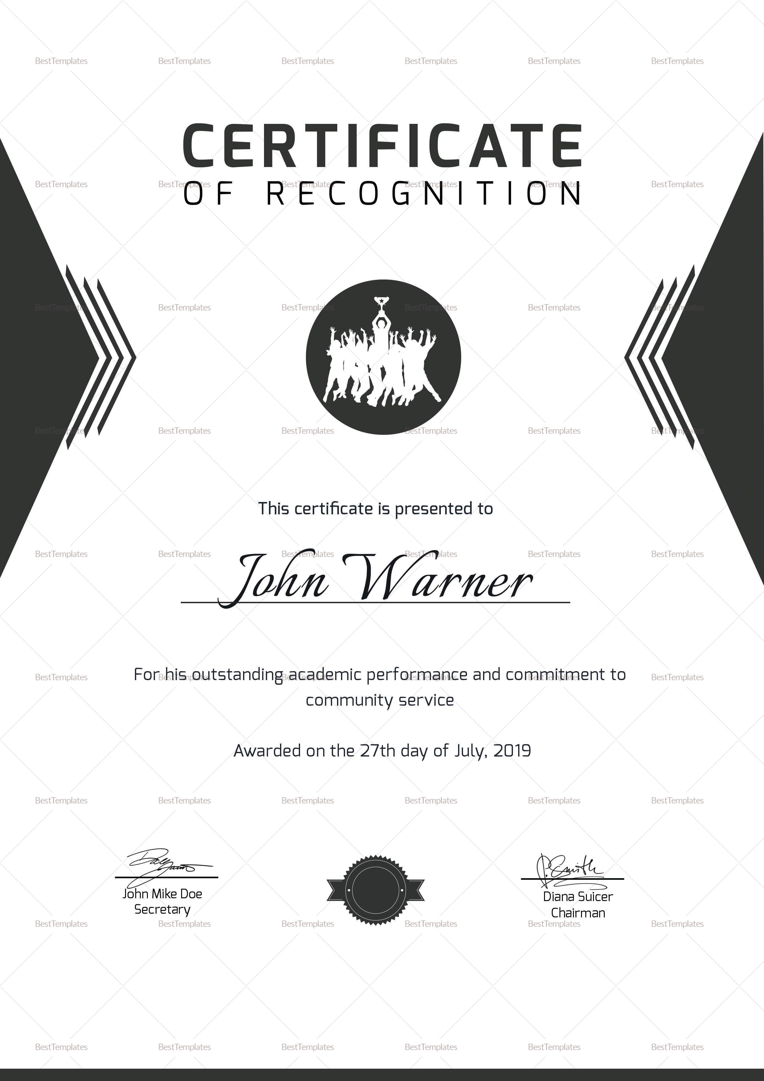prize winning certificate design template in psd word