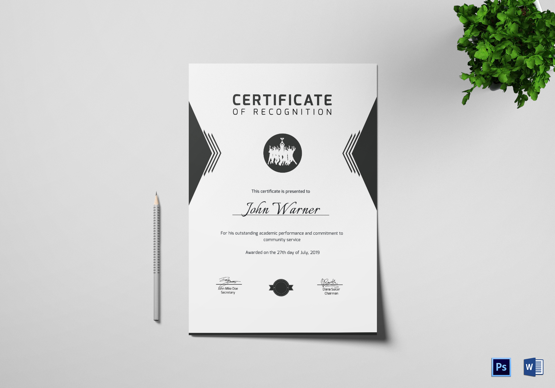 Prize Winning Certificate Design Template In Psd Word