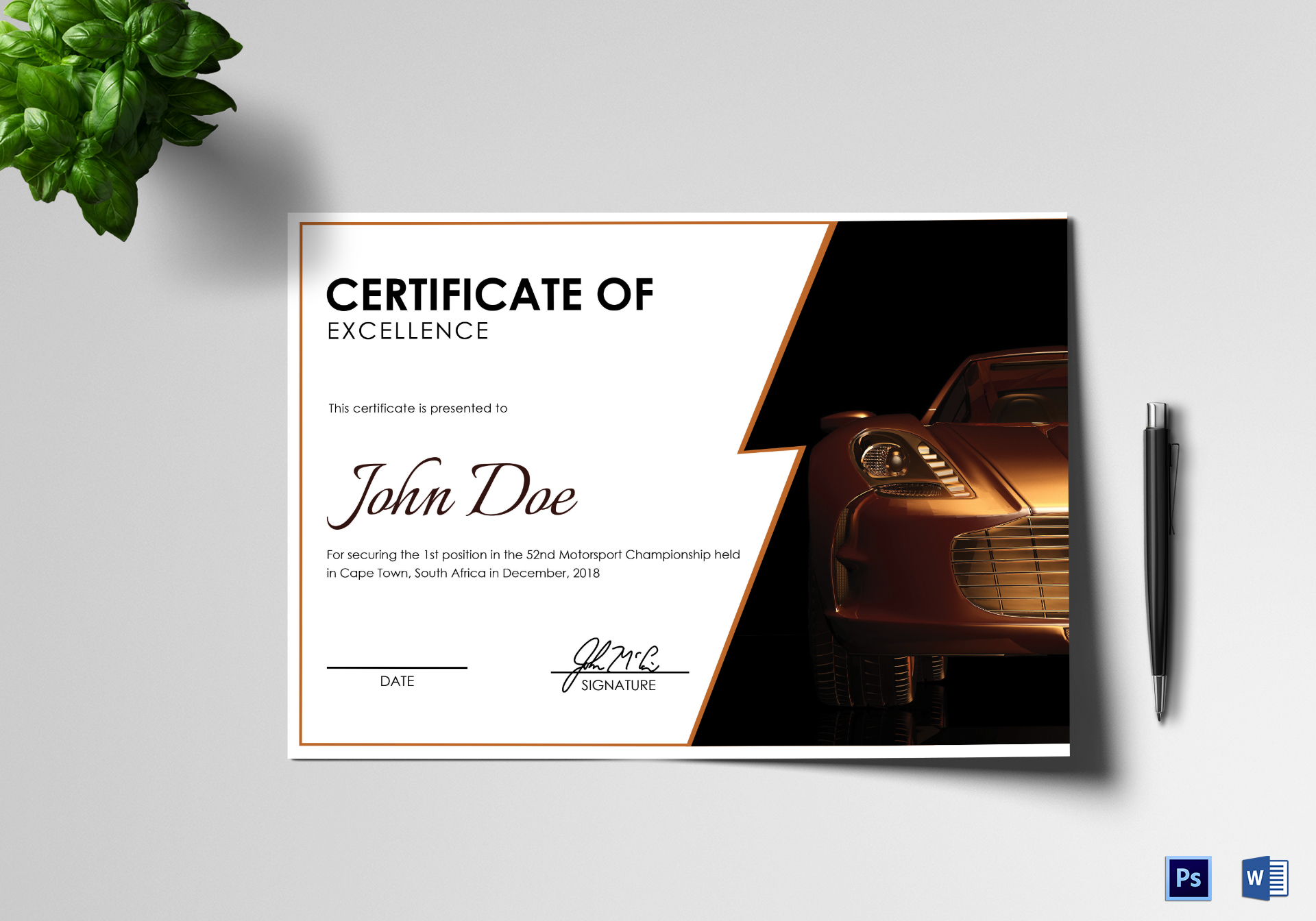 Motorsport Excellence Certificate Template