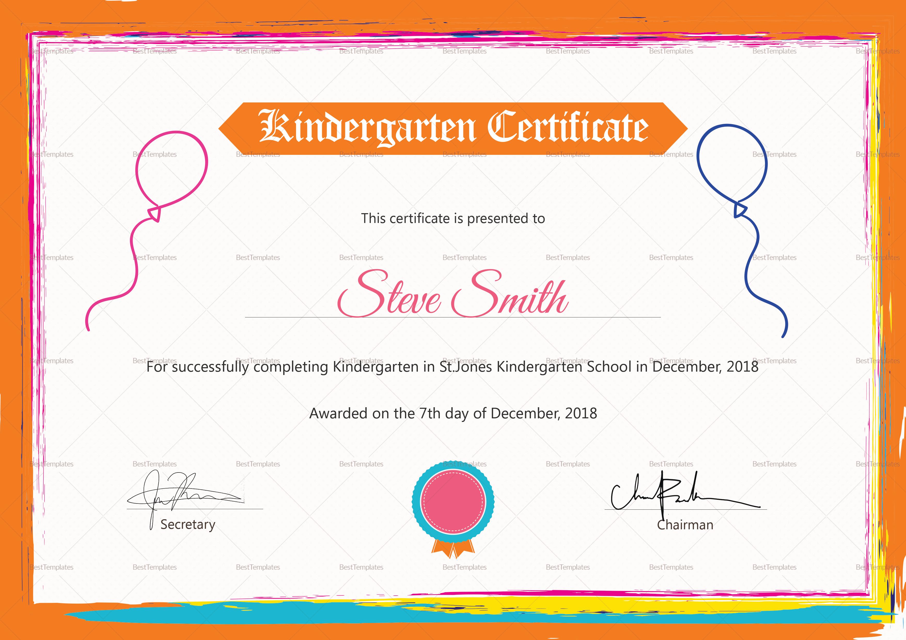 Kindergarten Preschool Certificate Design Template In Psd Word