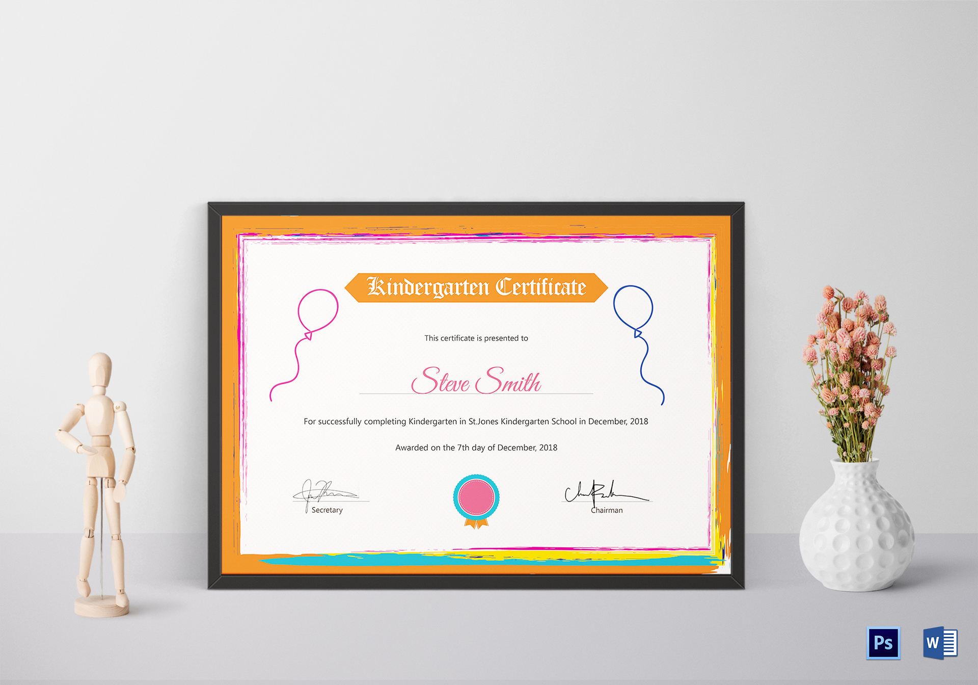 kindergarten preschool certificate design template in psd word