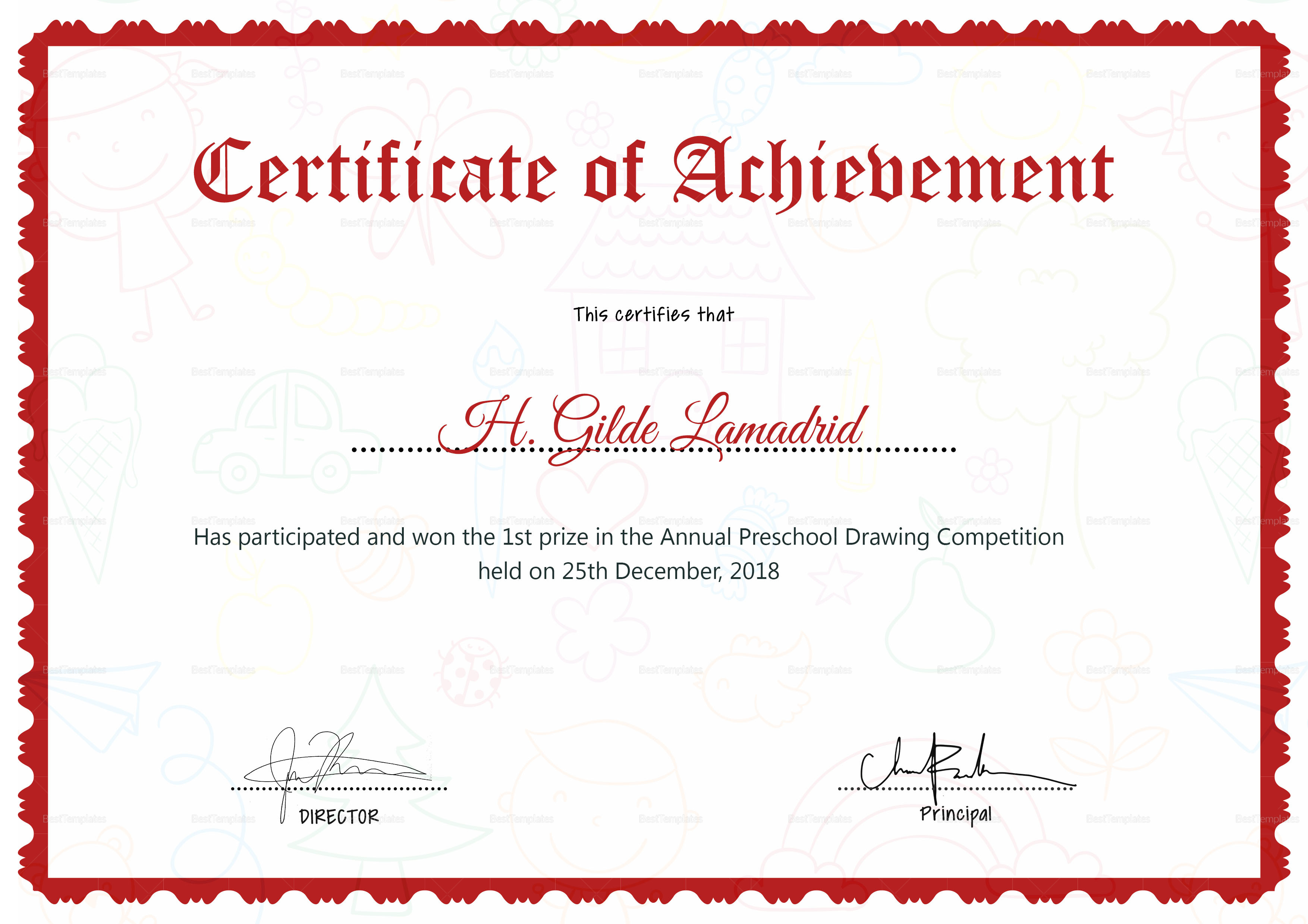 Preschool Drawing Certificate Design Template In Psd Word