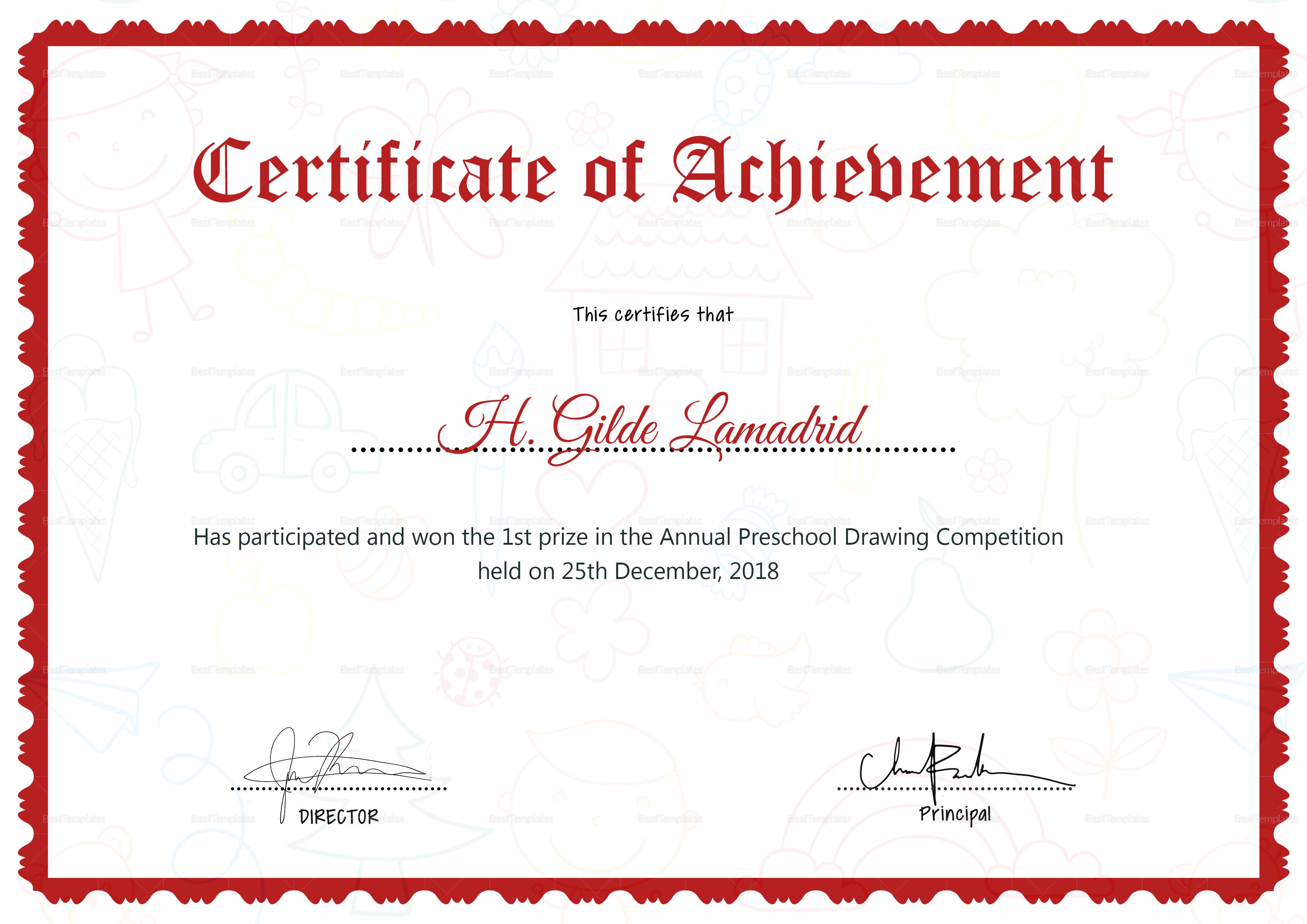 Preschool drawing certificate design template in psd word preschool drawing certificate template preschool drawing certificate template yadclub Images
