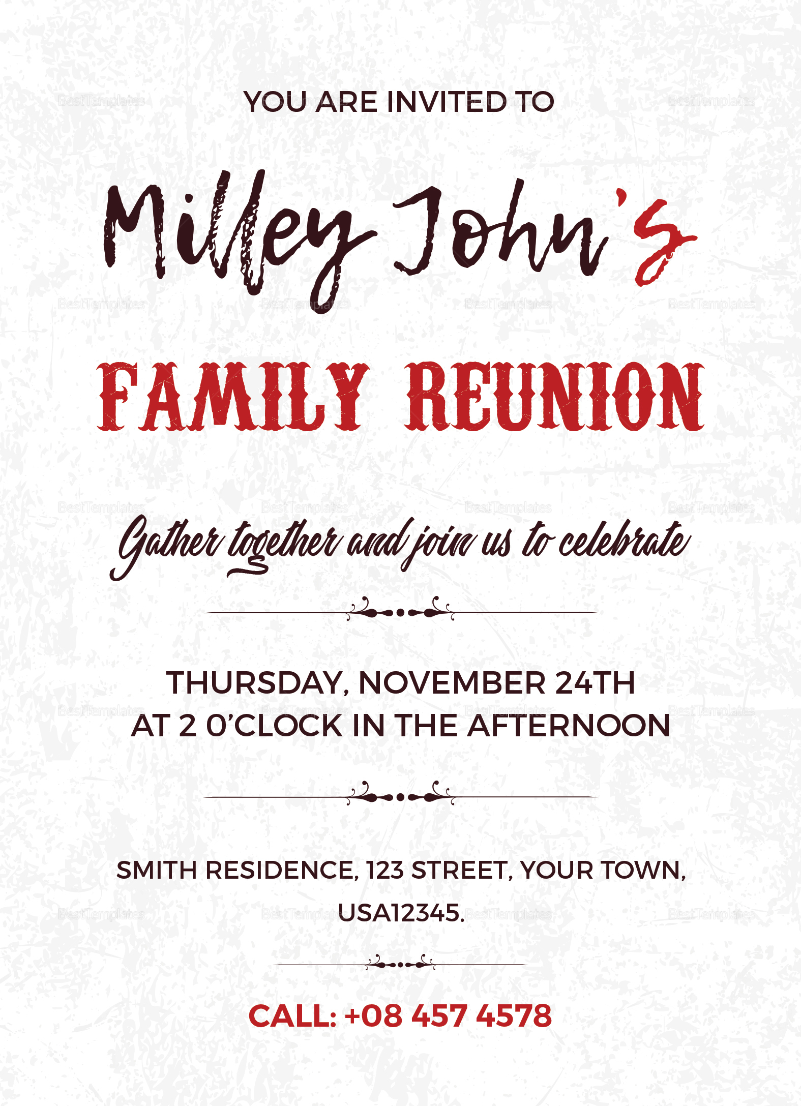 Family Reunion Invitation Card Design