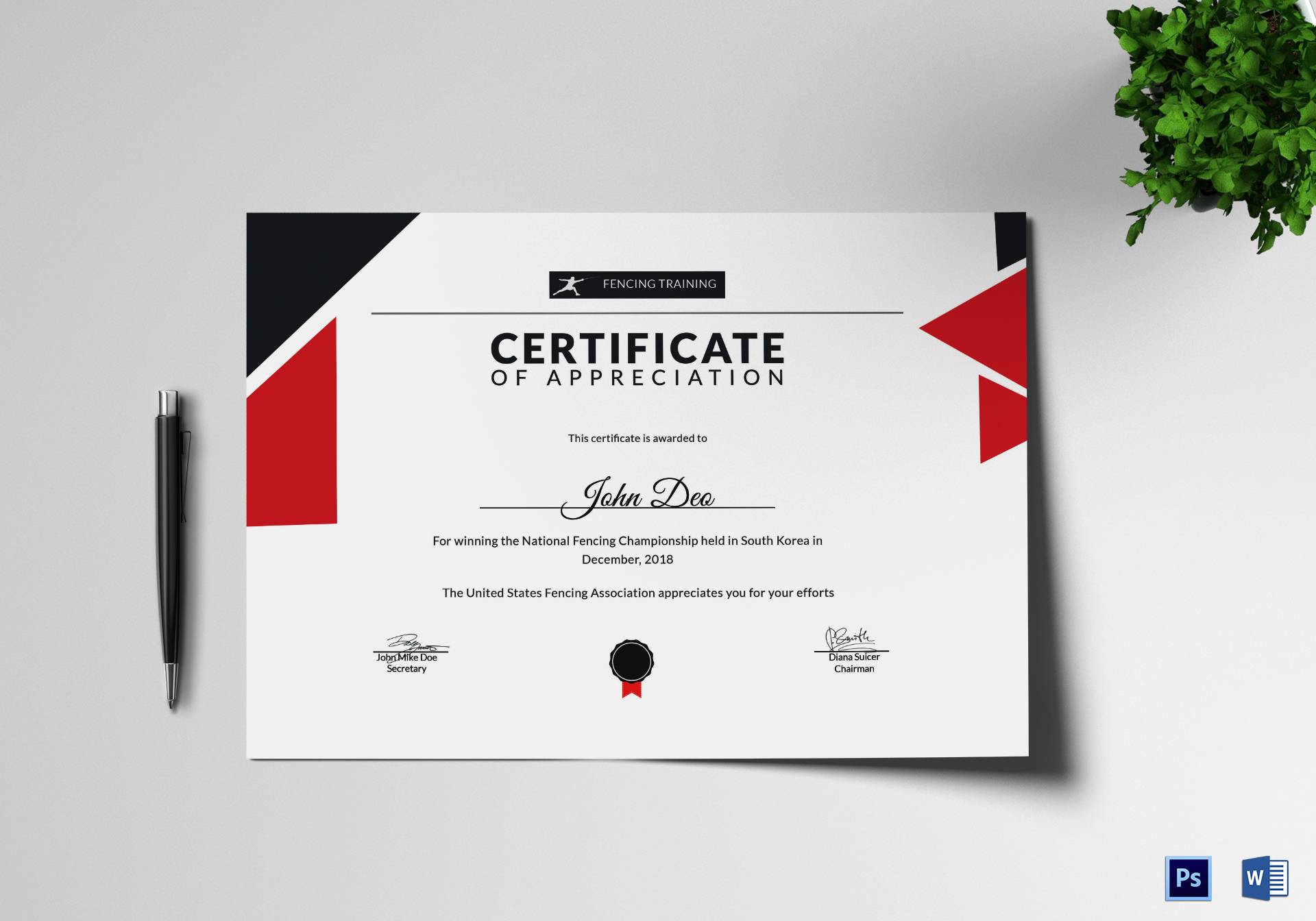 Fencing appreciation certificate design template in psd word fencing appreciation certificate fencing appreciation certificate template yelopaper Images