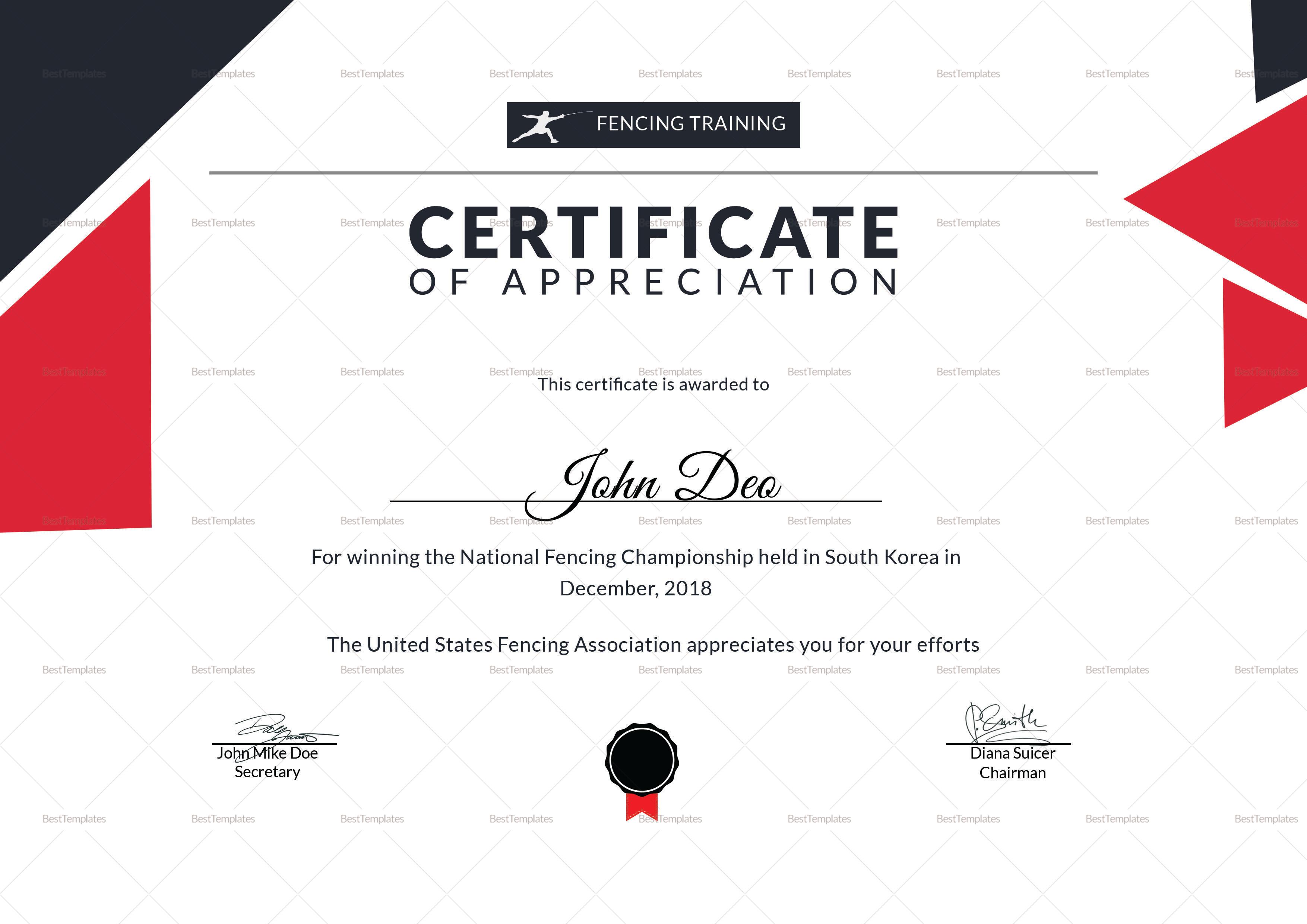 Fencing Appreciation Certificate Template