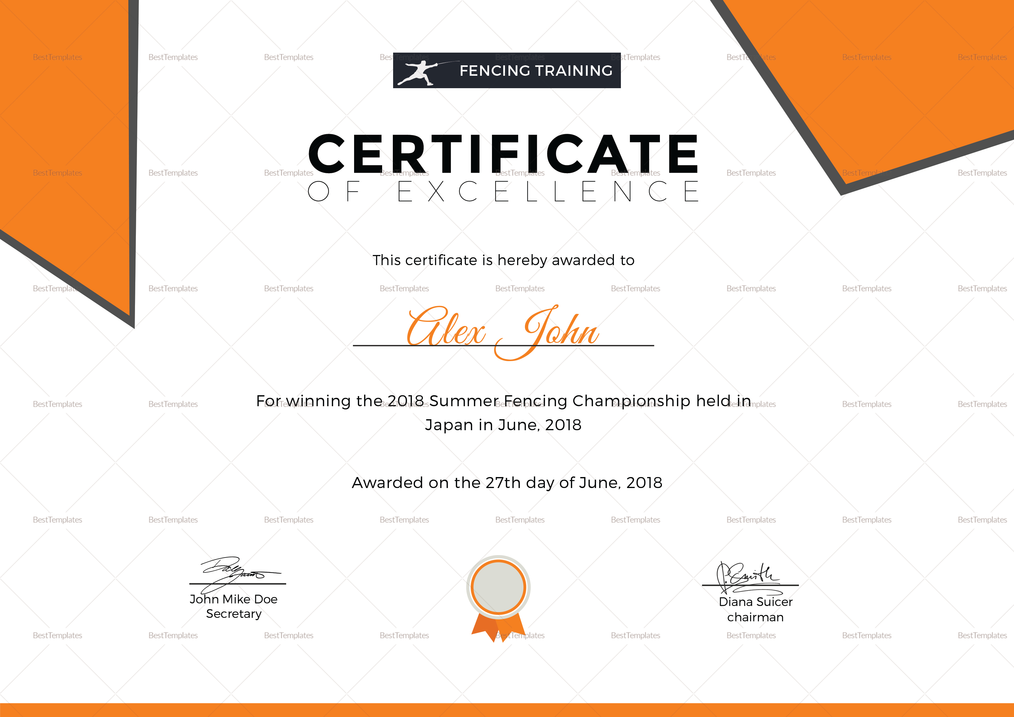 Fencing Excellence Certificate Template