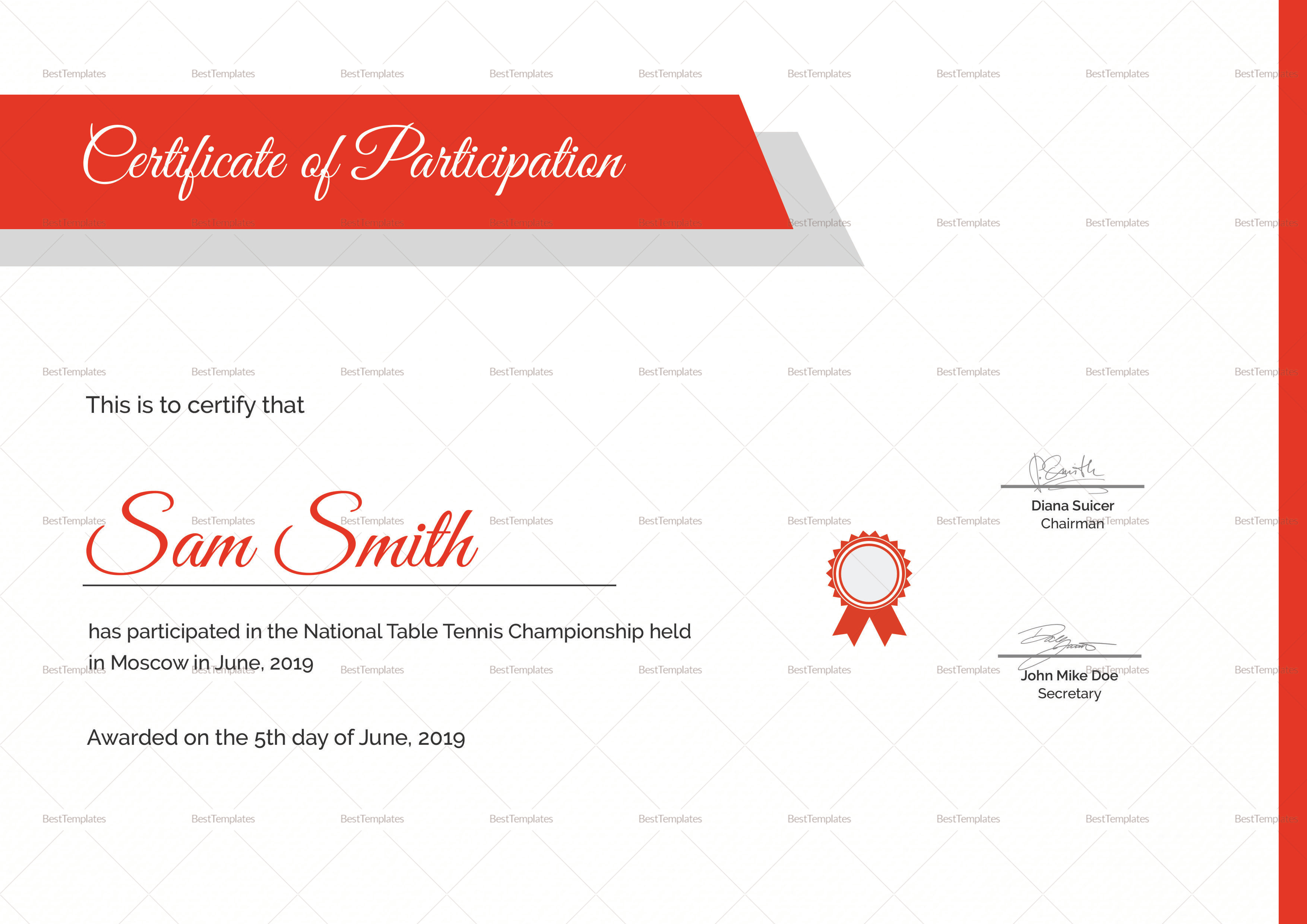 Table Tennis Participation Certificate Design Template