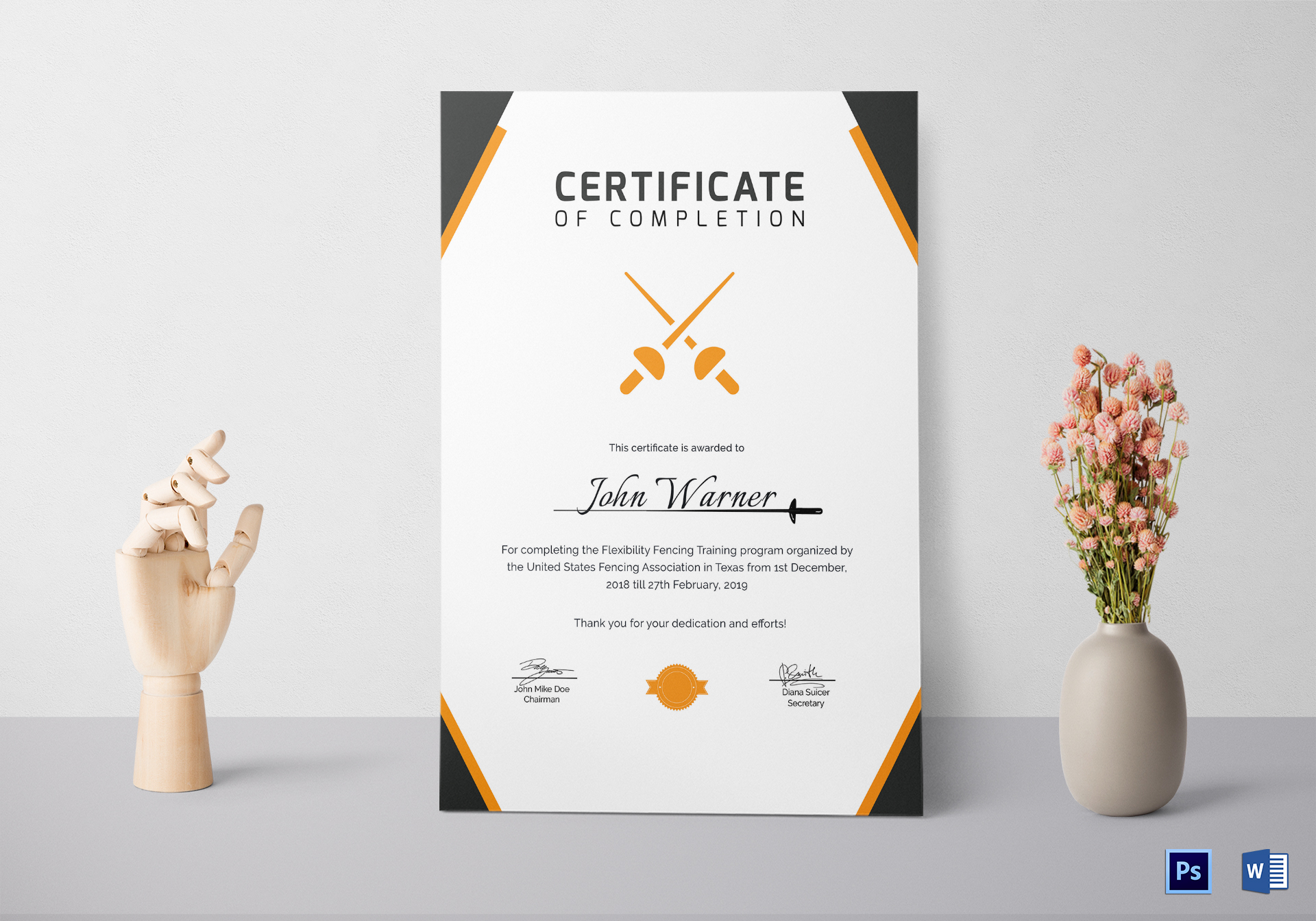 Fencing Completion Certificate