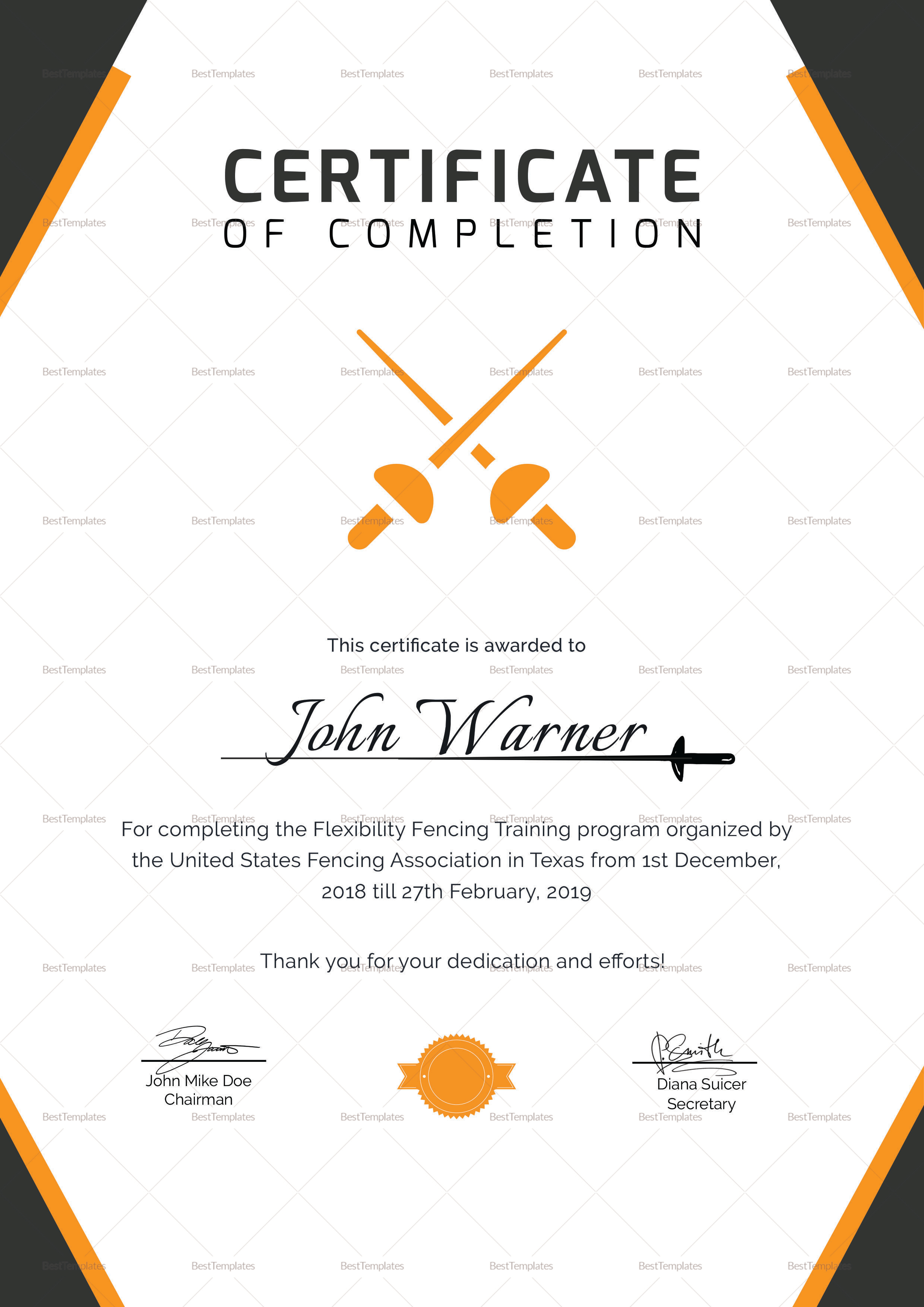 Fencing Completion Certificate Template