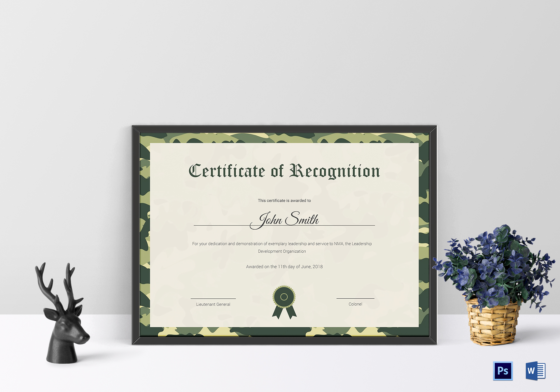 Air Cadet Recognition Certificate Design Template In Psd Word