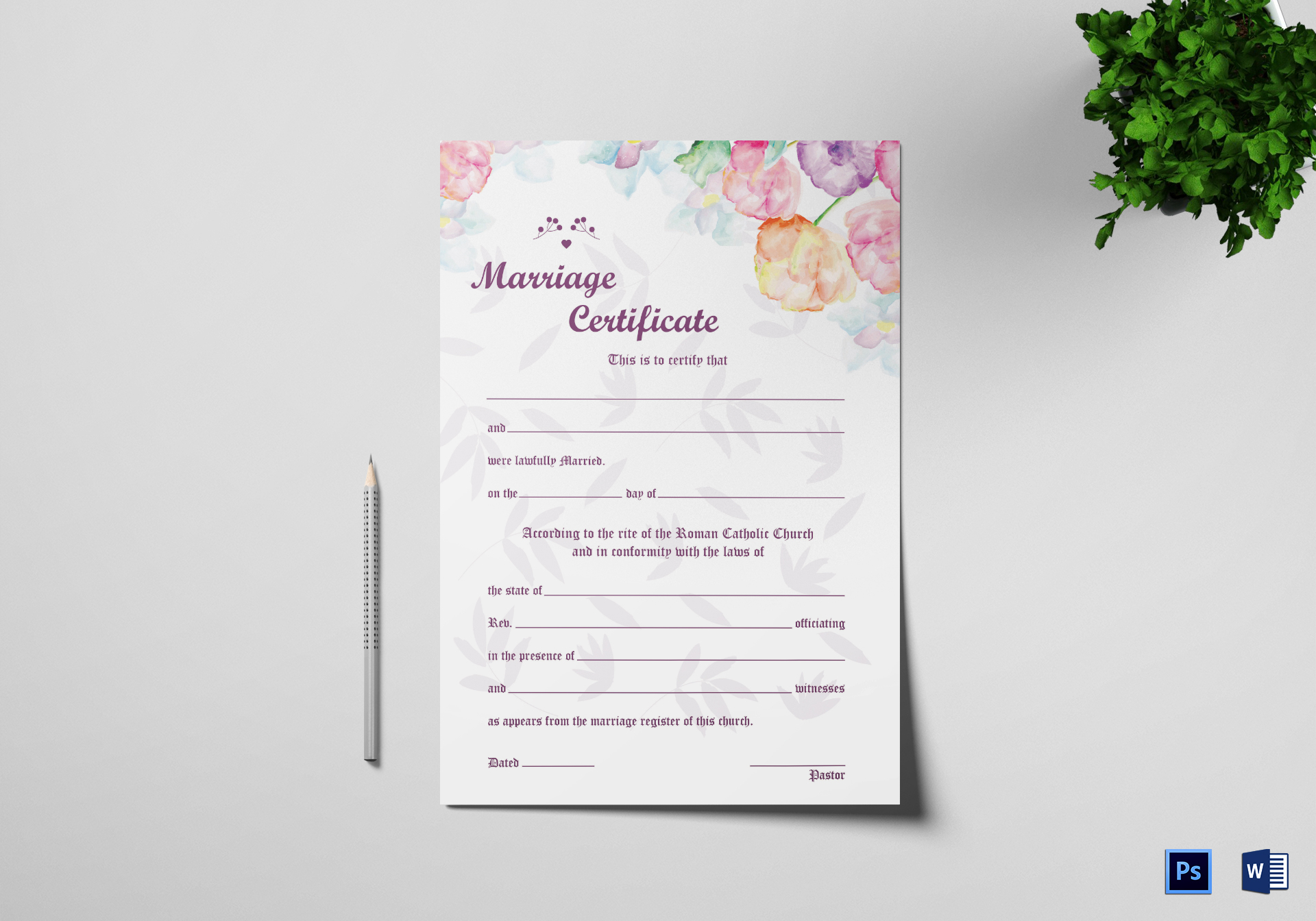 Water Color Wedding Certificate Template