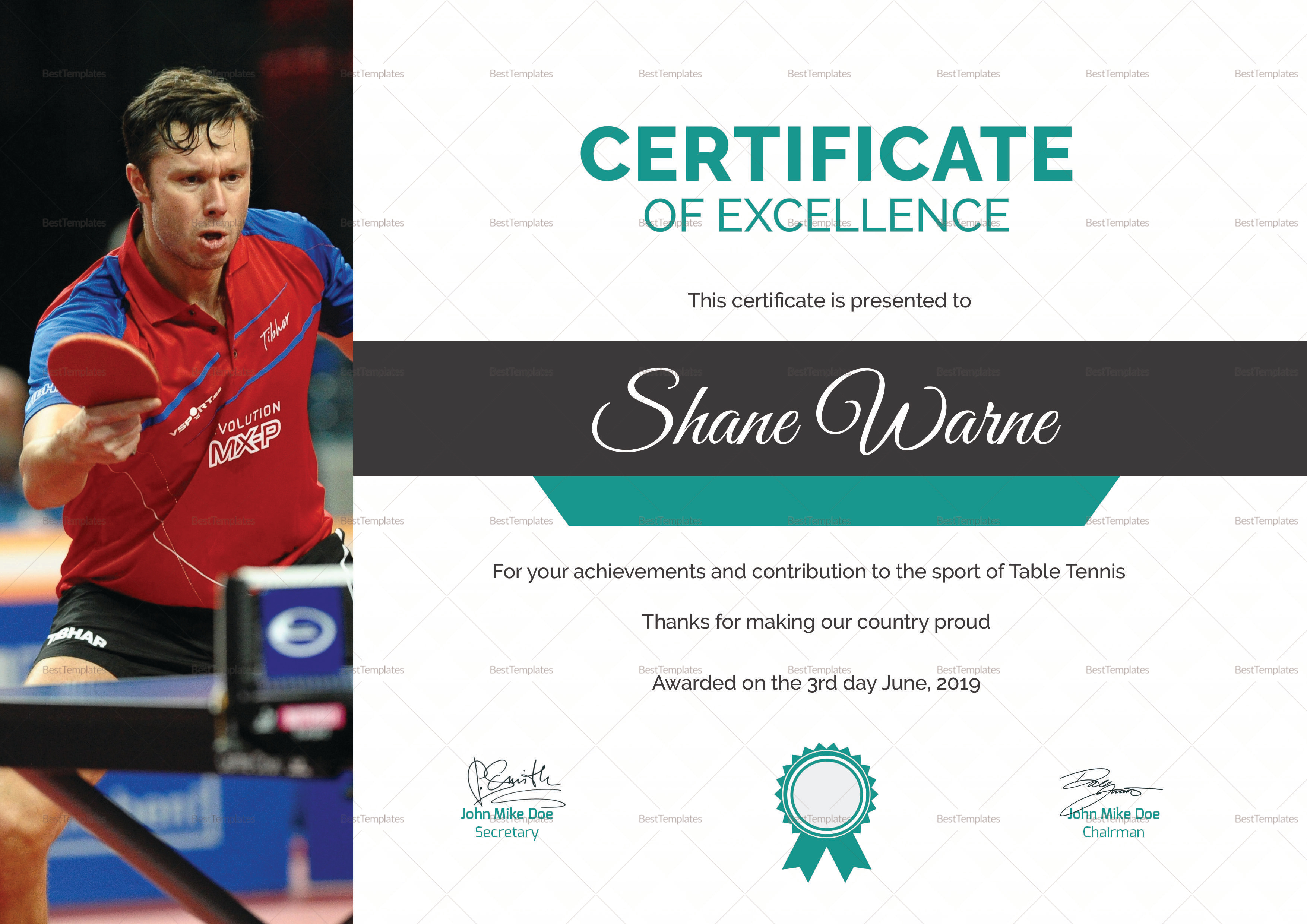 Table Tennis Excellence Certificate Design Template