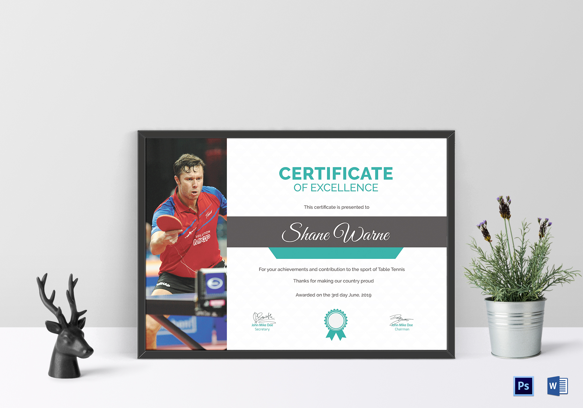 Table Tennis Excellence Certificate Template