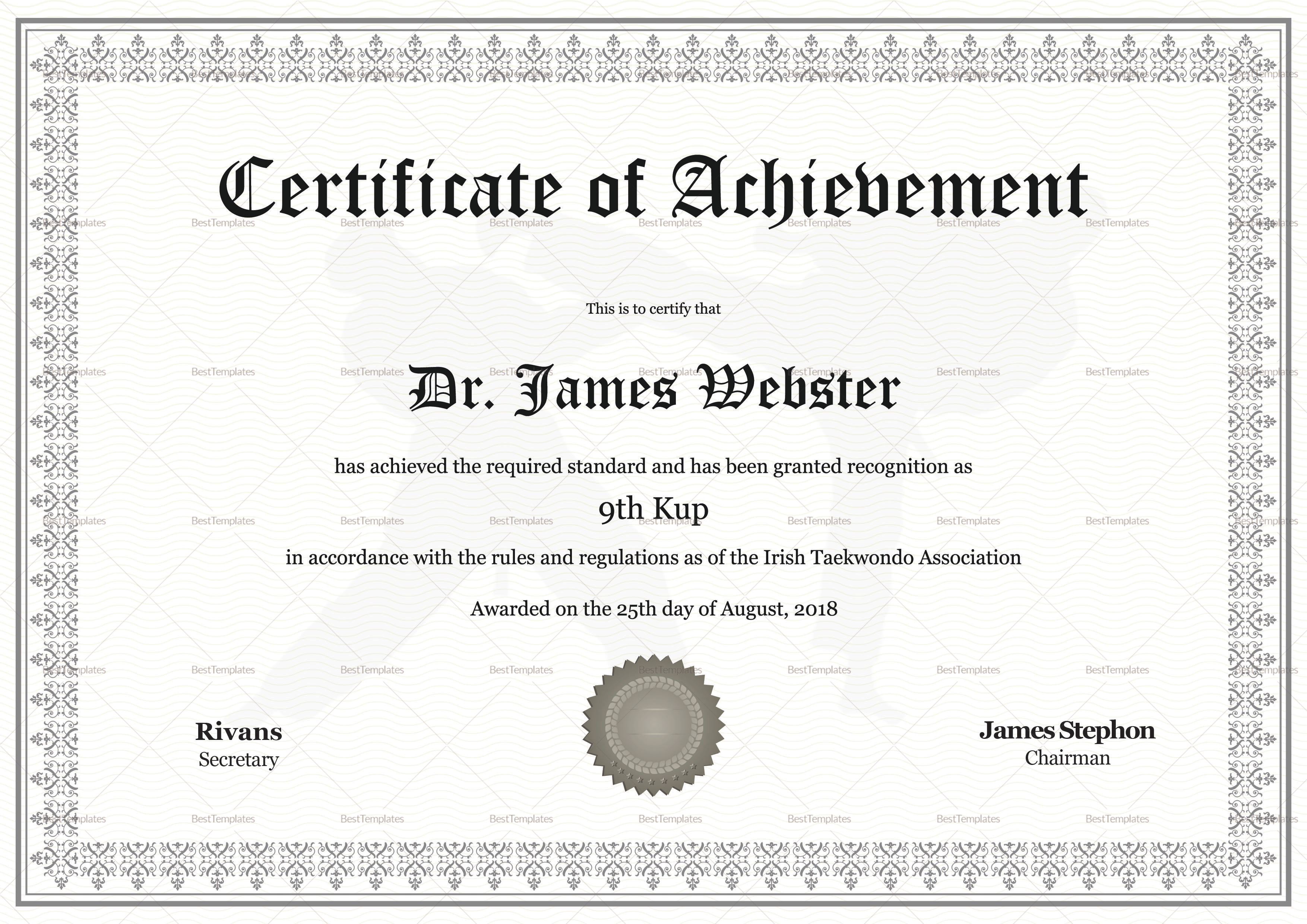 taekwondo certificate design template in psd word
