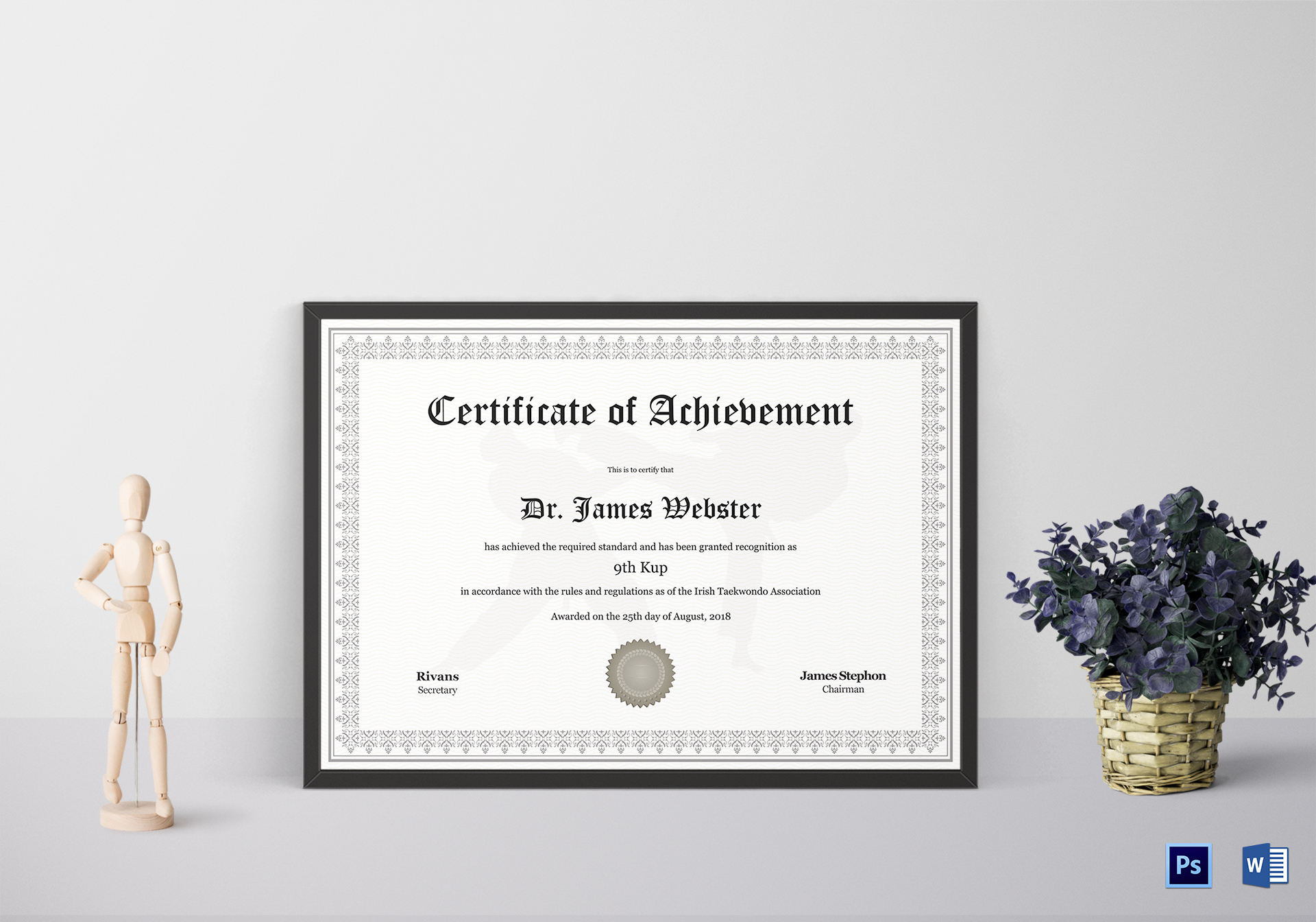 taekwondo certificate design template in psd word