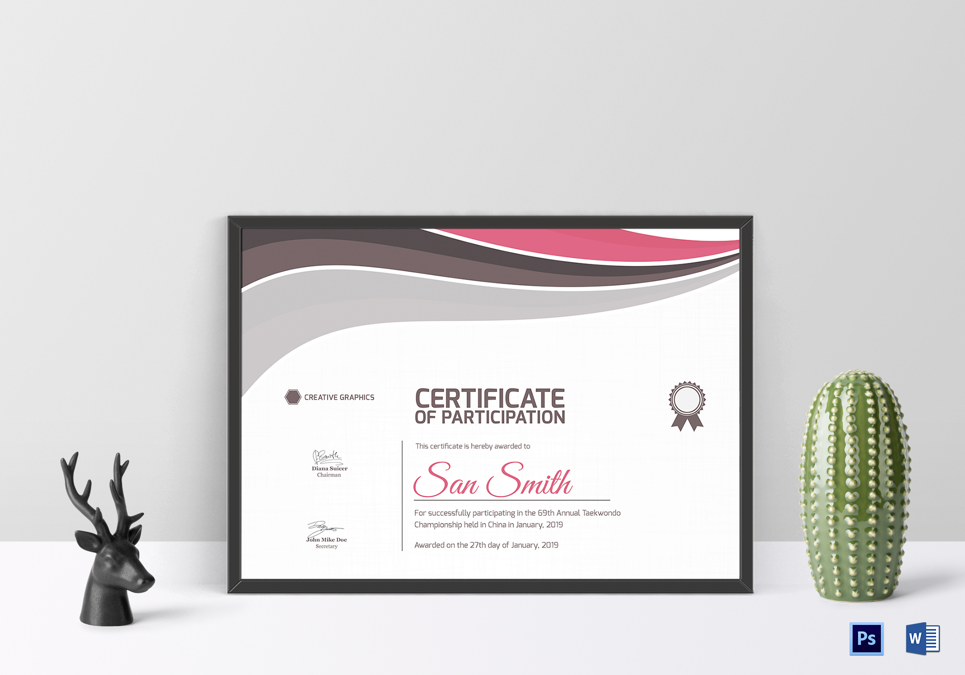 taekwondo participation certificate design template in psd