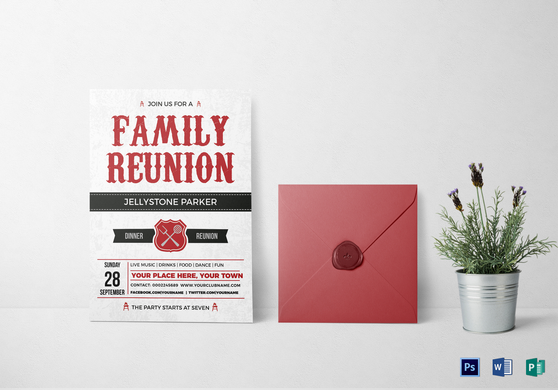 modern family reunion invitation card design template in word psd