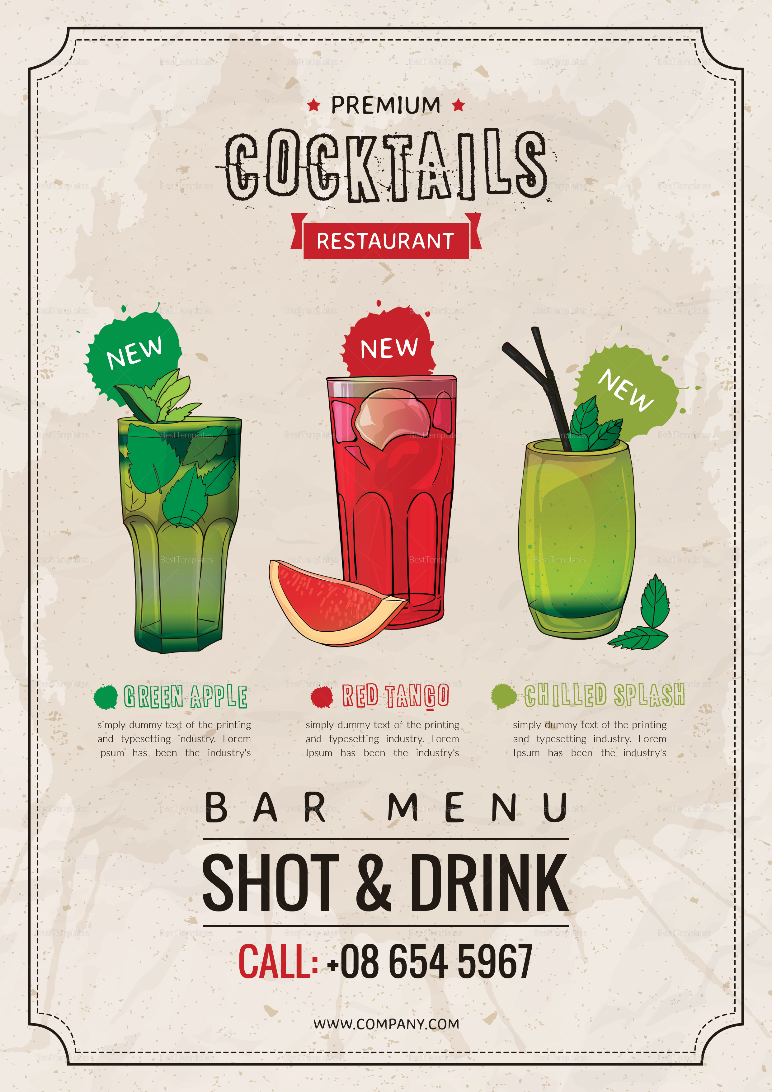 Bar Drink Menu Template