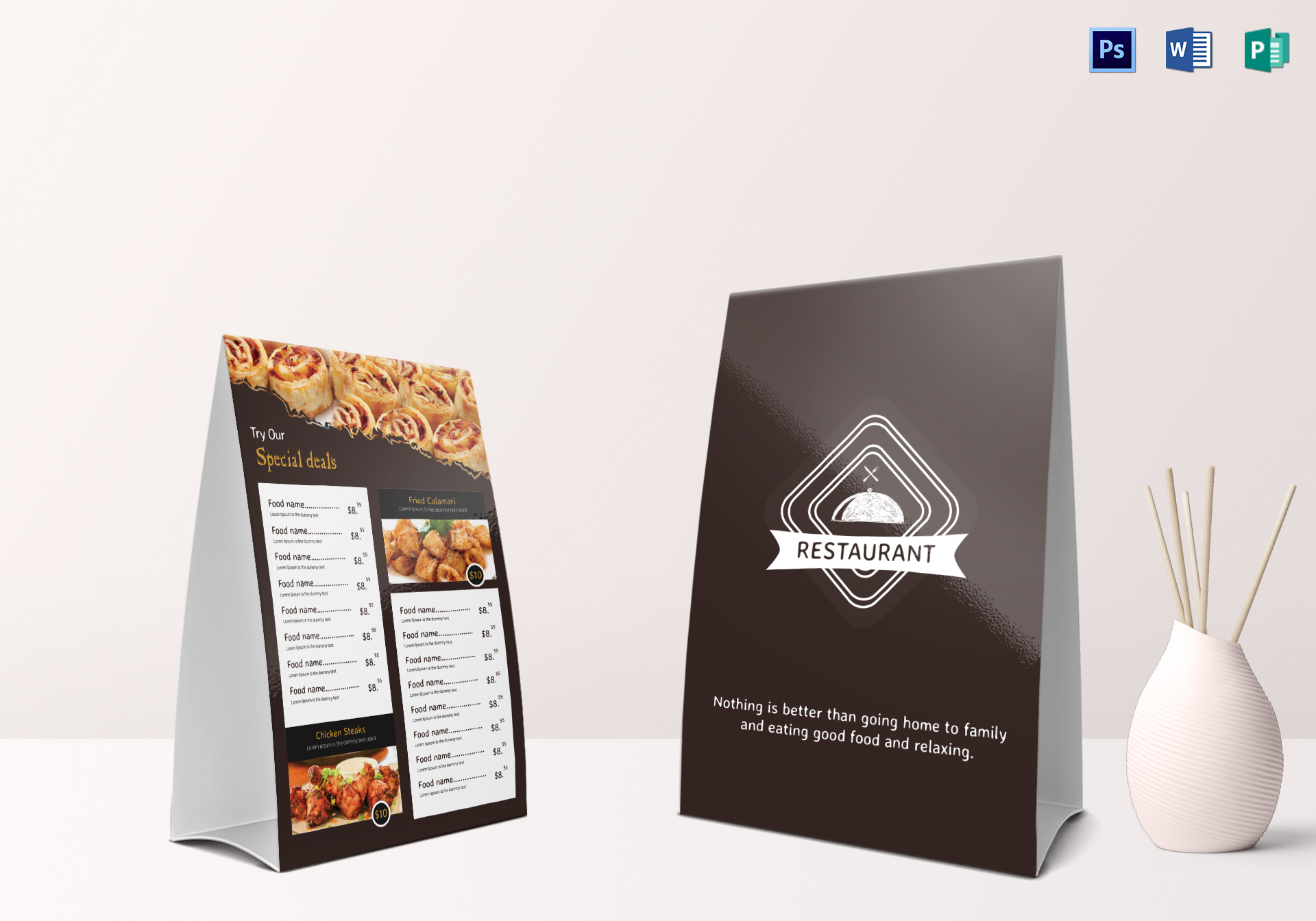 restaurant table tent menu design template in psd word publisher