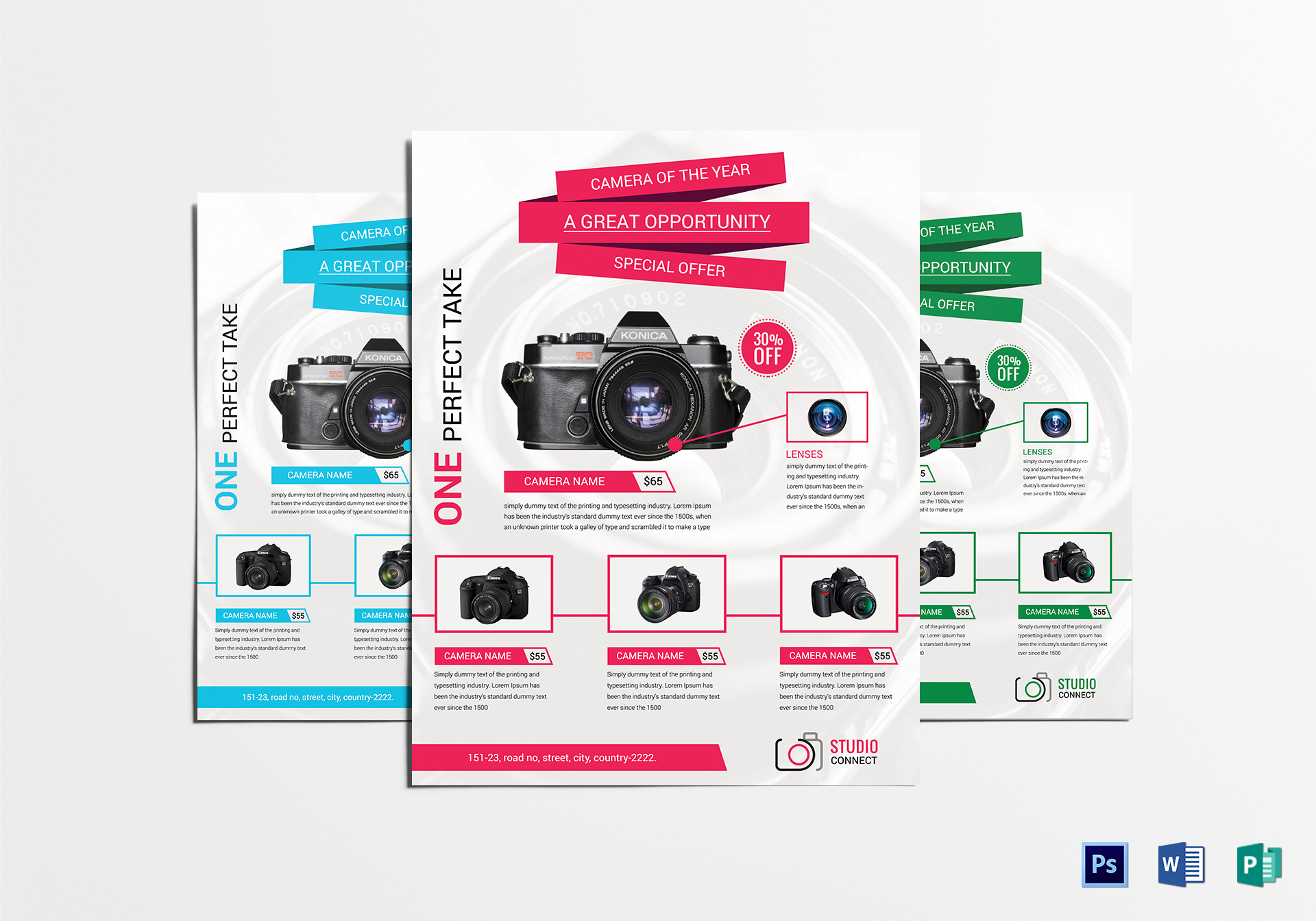 camera promotional flyer design template in psd word publisher