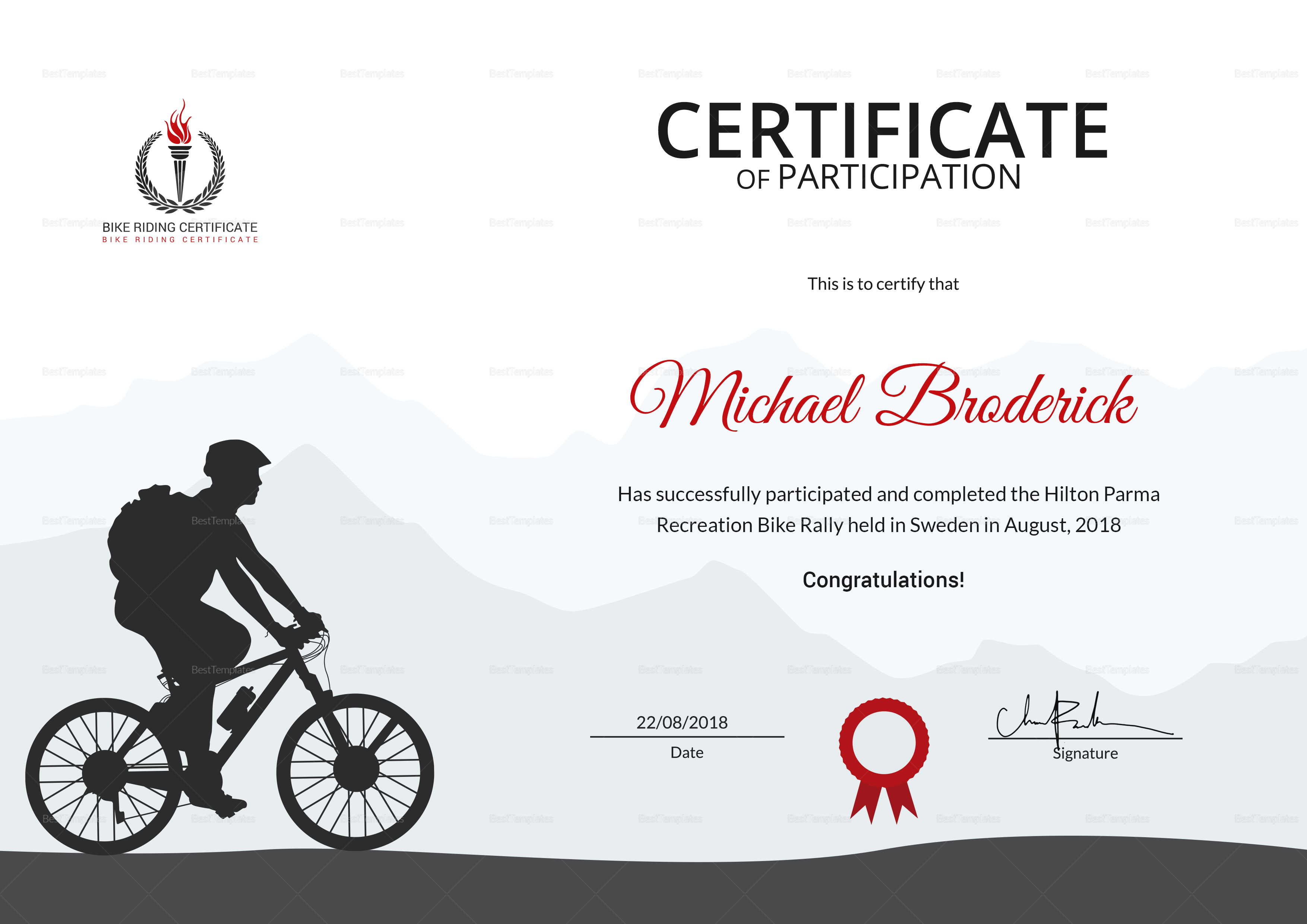 Off Road Bike Riding Participation Certificate Template