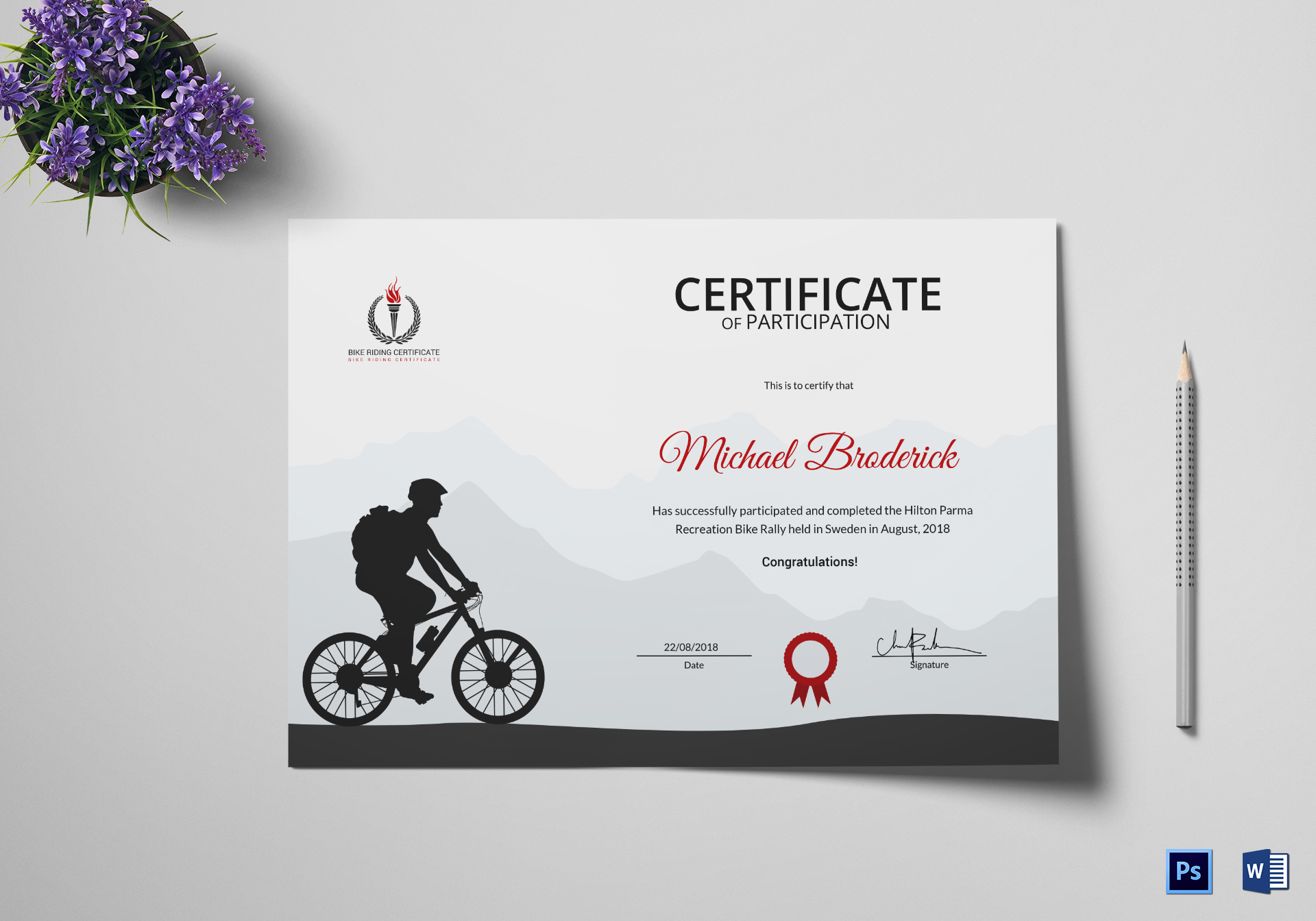 Off Road Bike Riding Participation Certificate