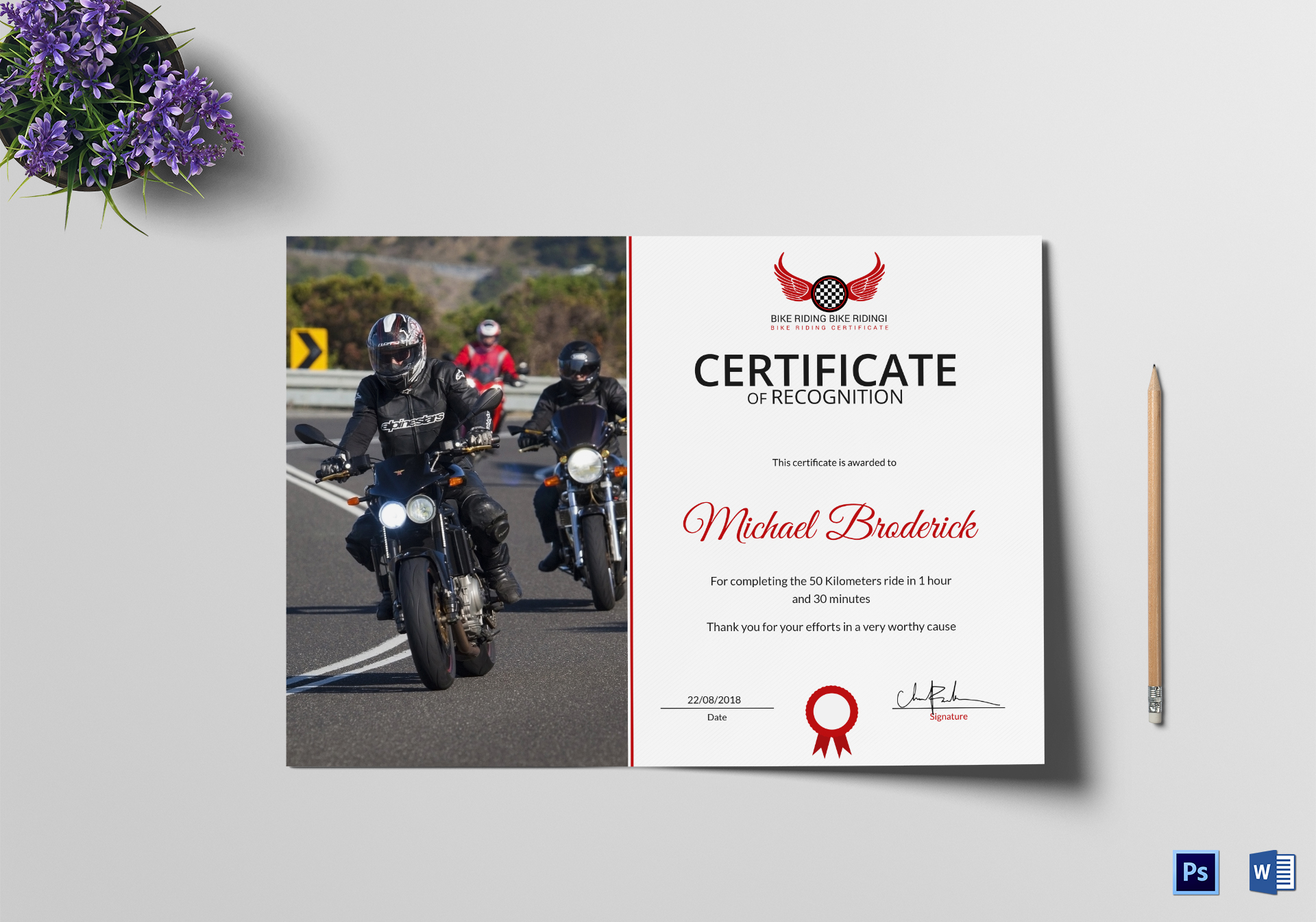 Off Road Bike Riding Recognition Certificate Design ...