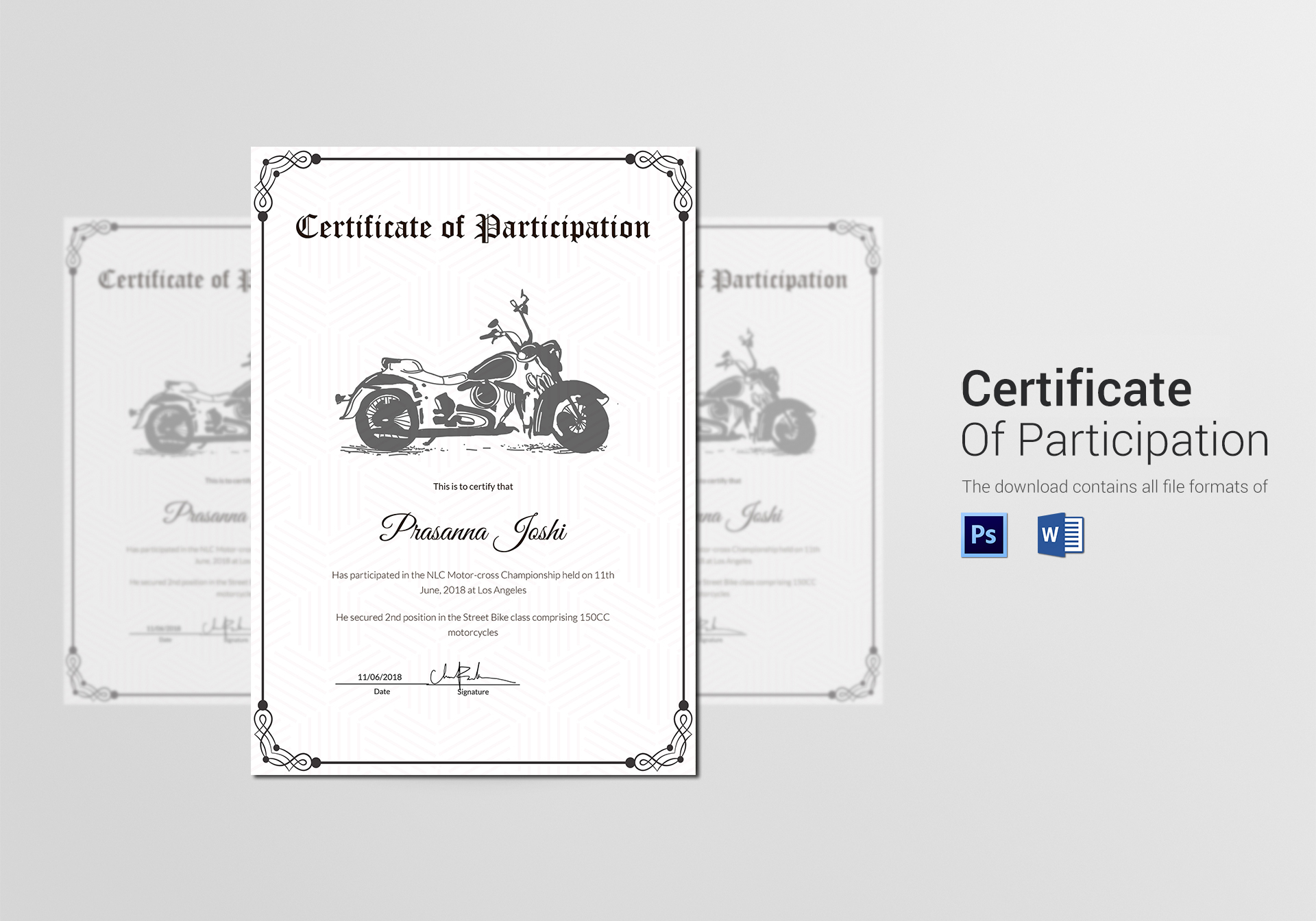 Classic motocross participation certificate design template in psd classic motocross participation certificate template xflitez Image collections