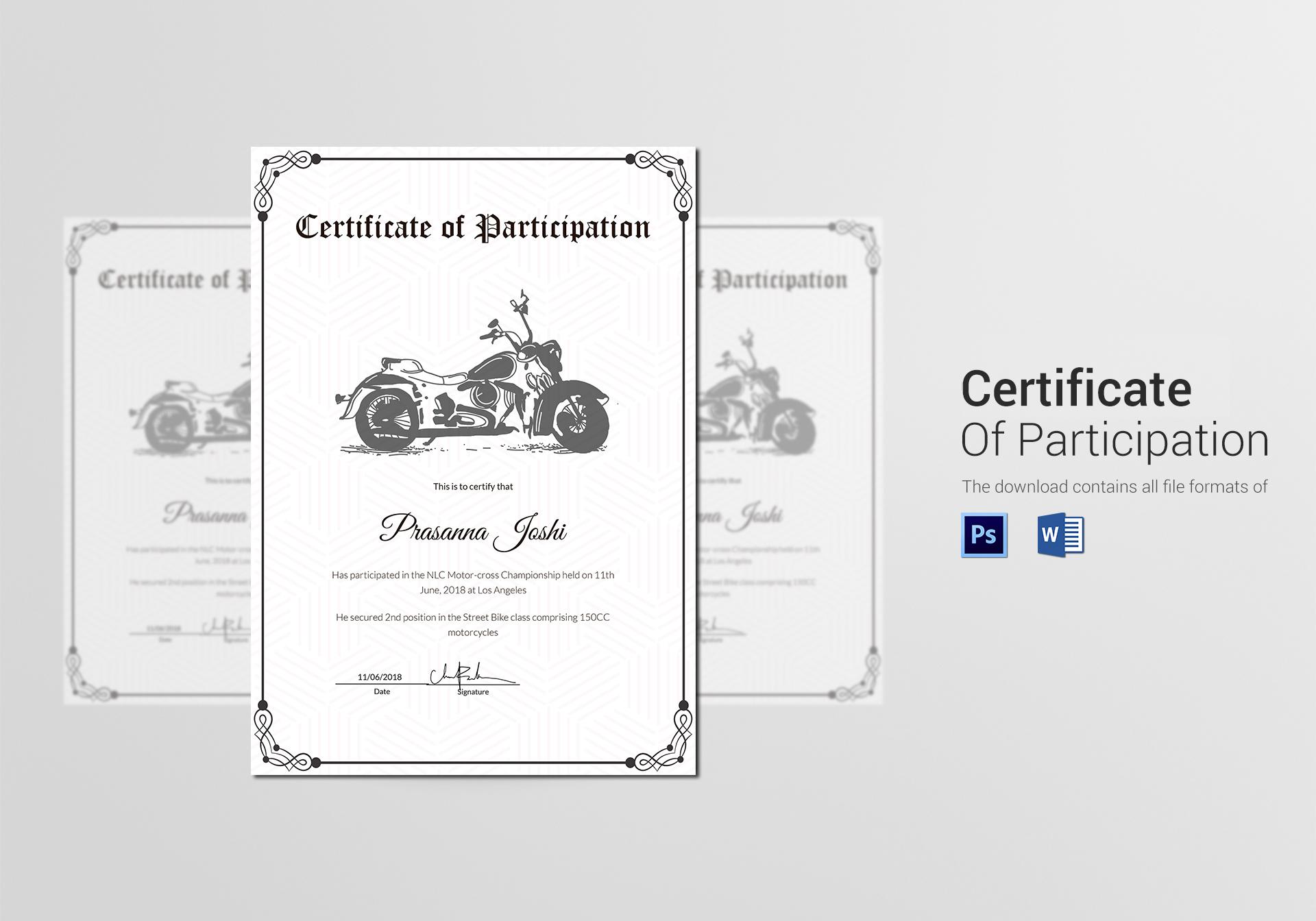 Classic Motocross Participation Certificate Template