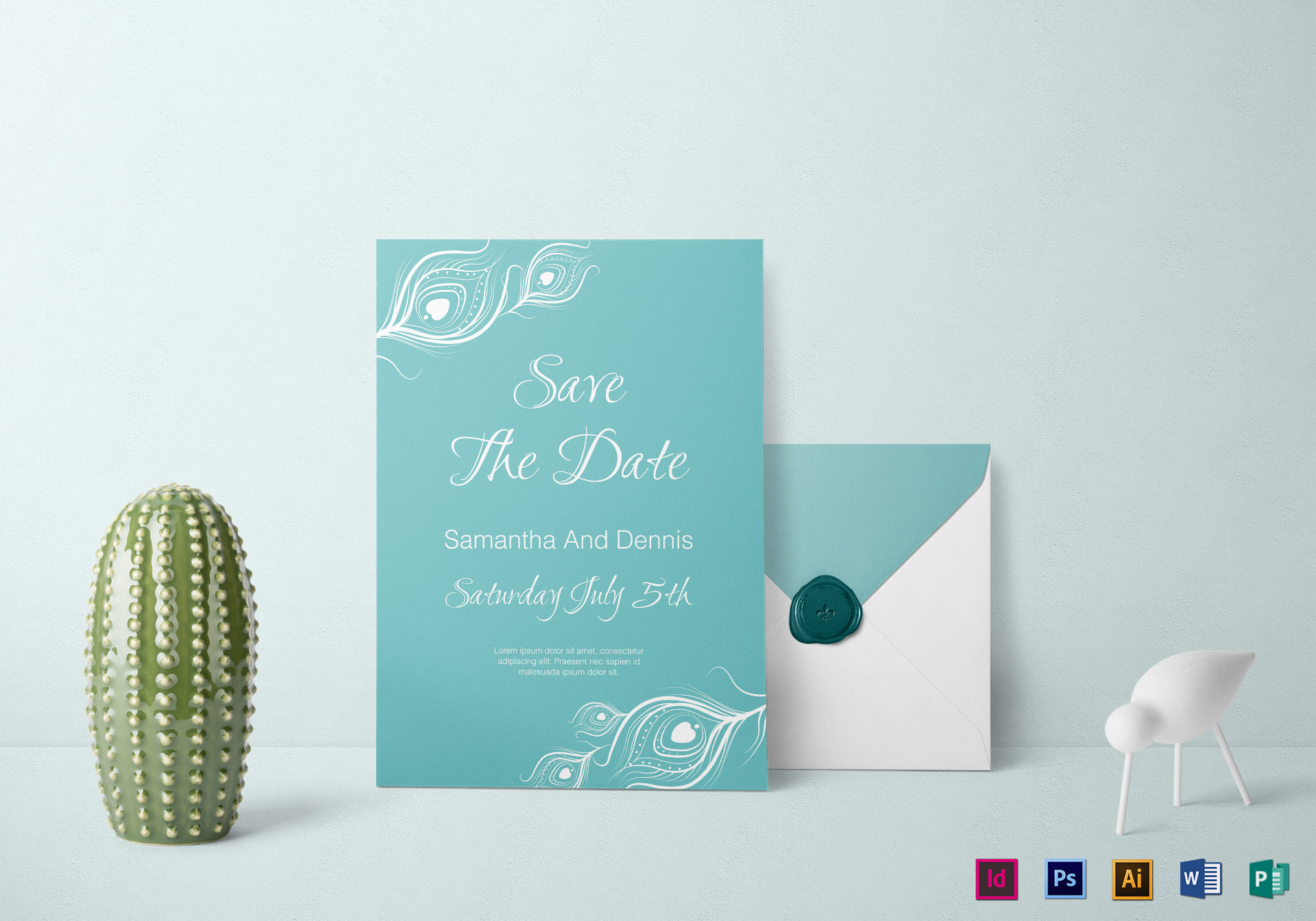 Peacock Wedding Invitations Template: Elegant Peacock Wedding Invitation Design Template In PSD