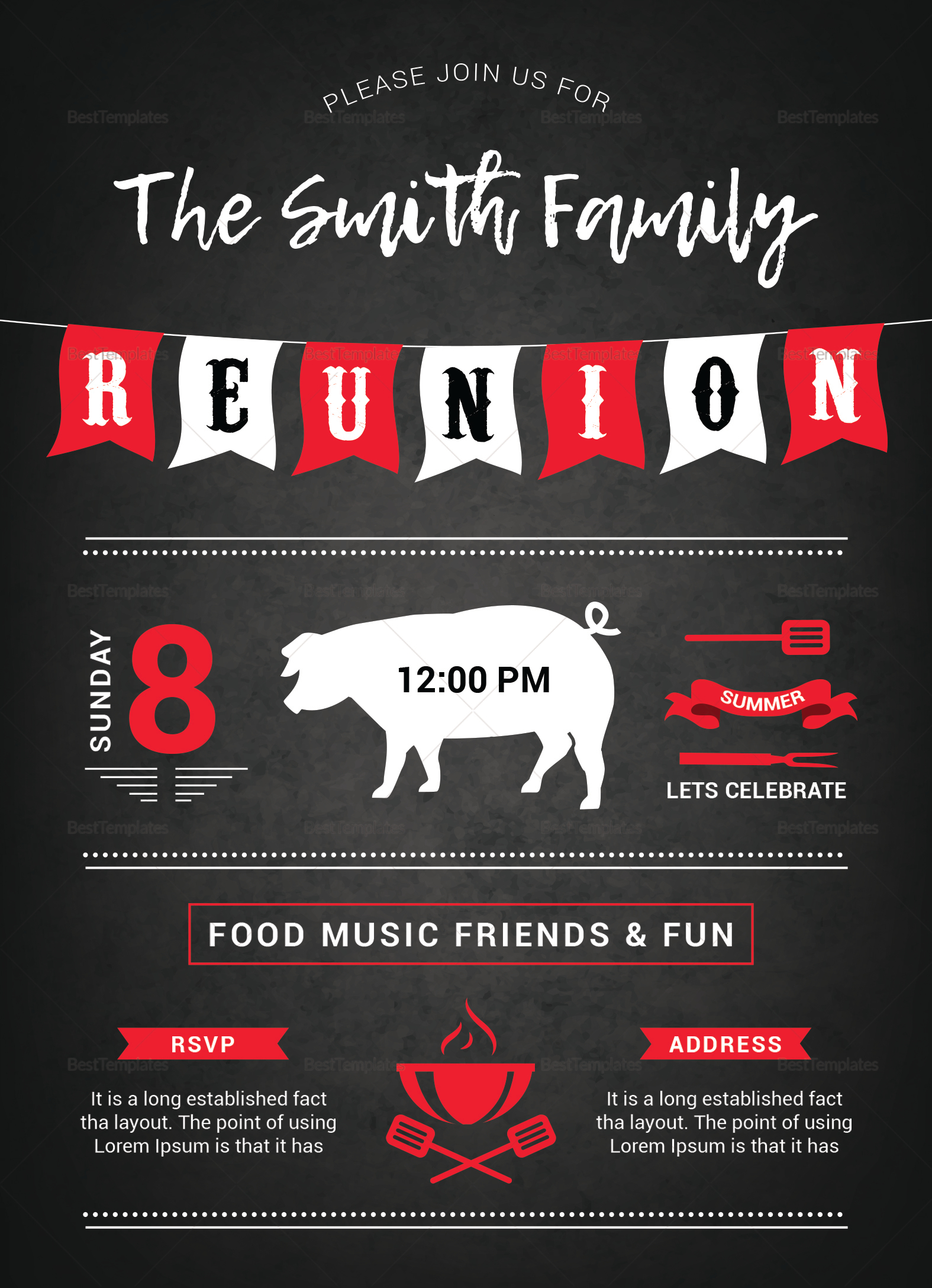 Family BBQ Reunion Invitation Design