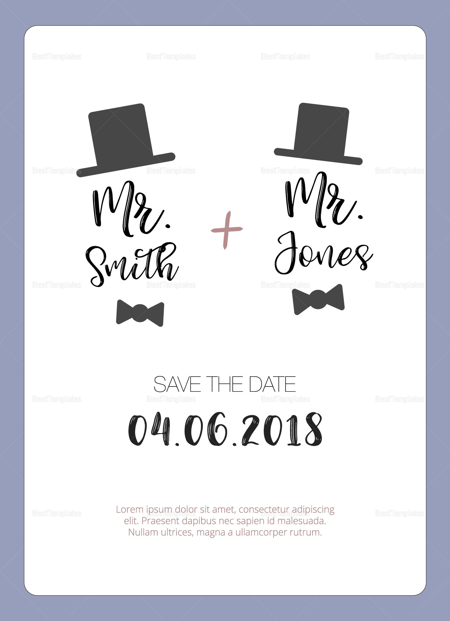 Gay Wedding invitation Template