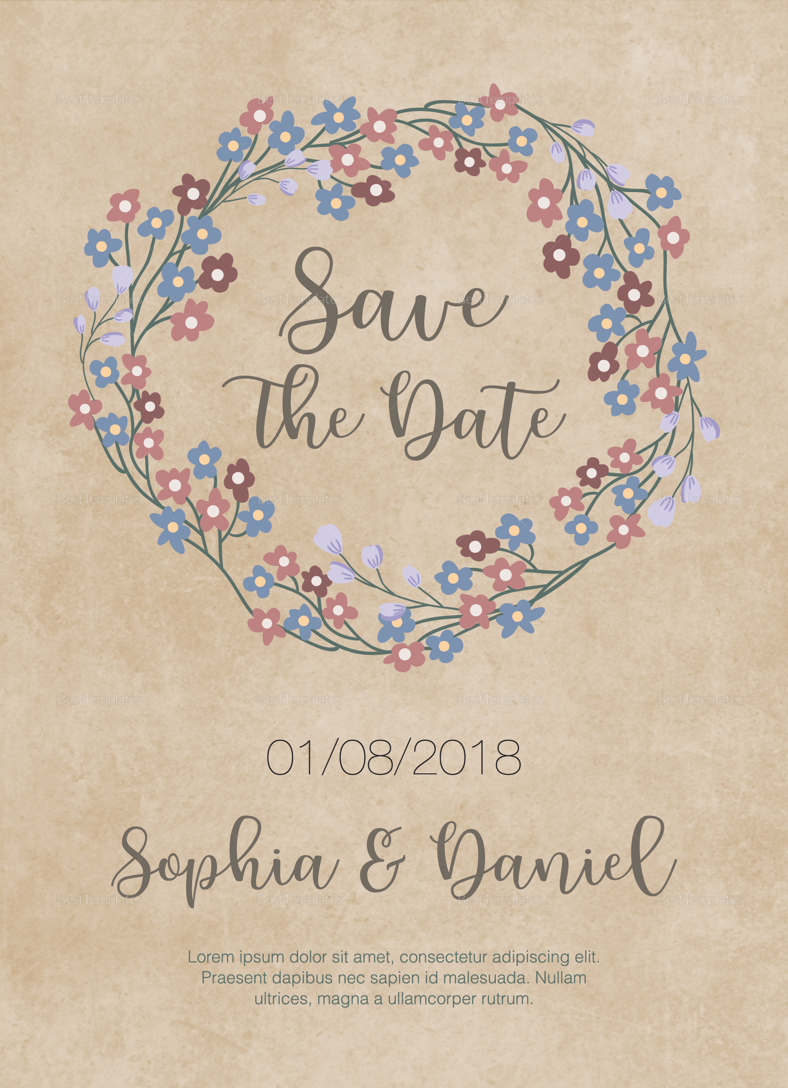 Classic Rustic Wedding Invitation Template