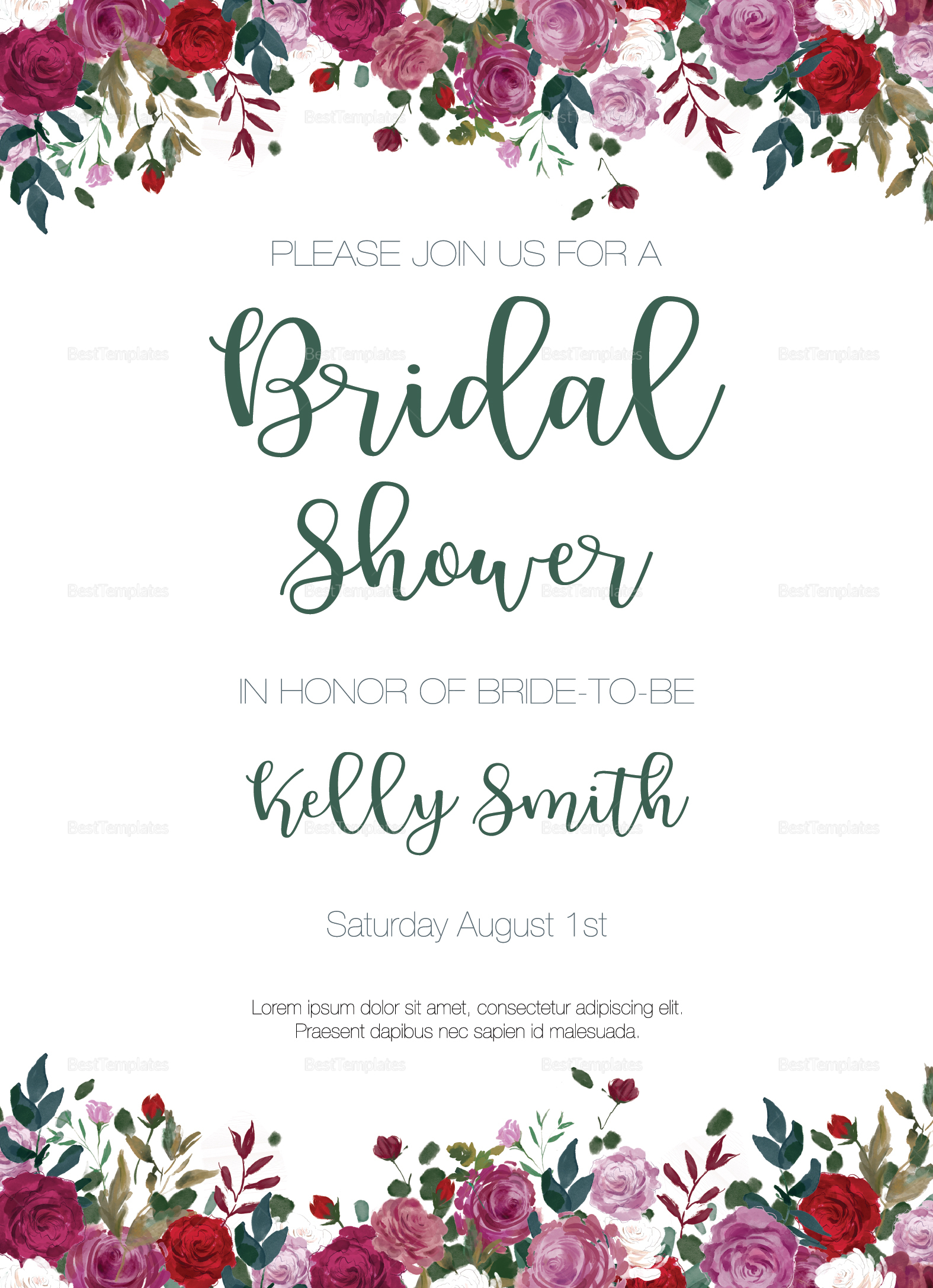 Vintage Roses Bridal Shower Invitation Template
