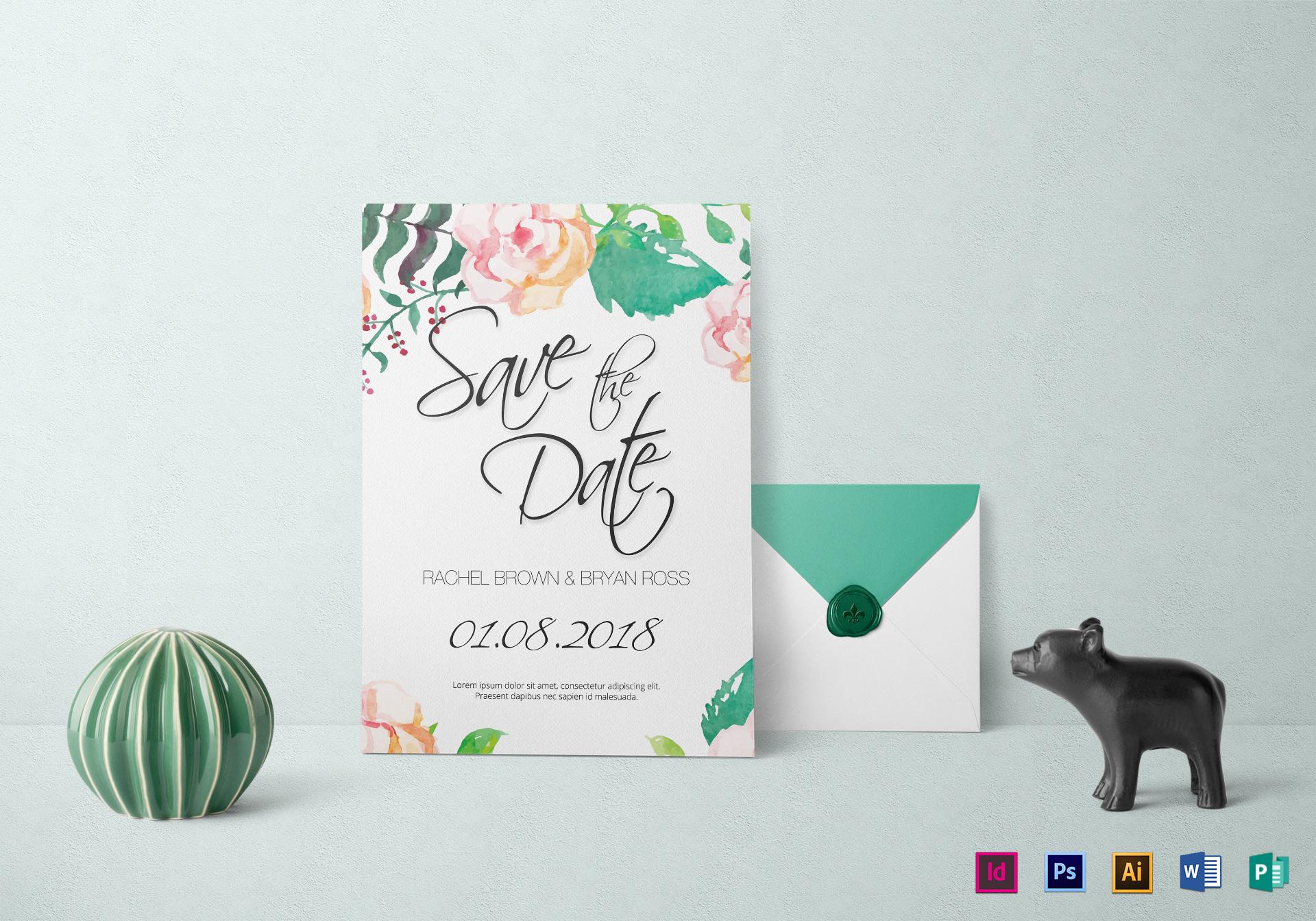 Sample Watercolor Wedding Invitation