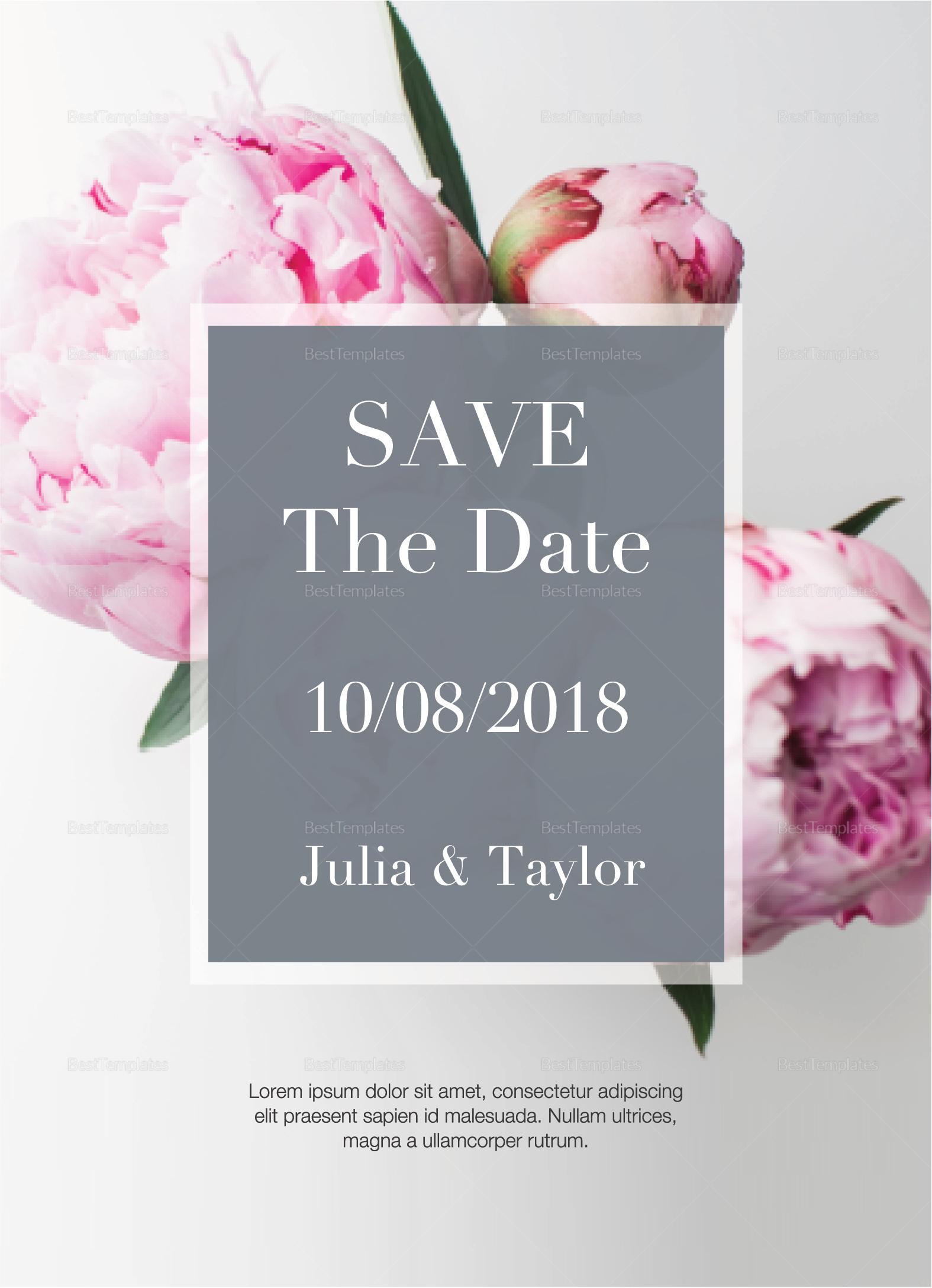 Peony Wedding Invitation Design Template in PSD Word