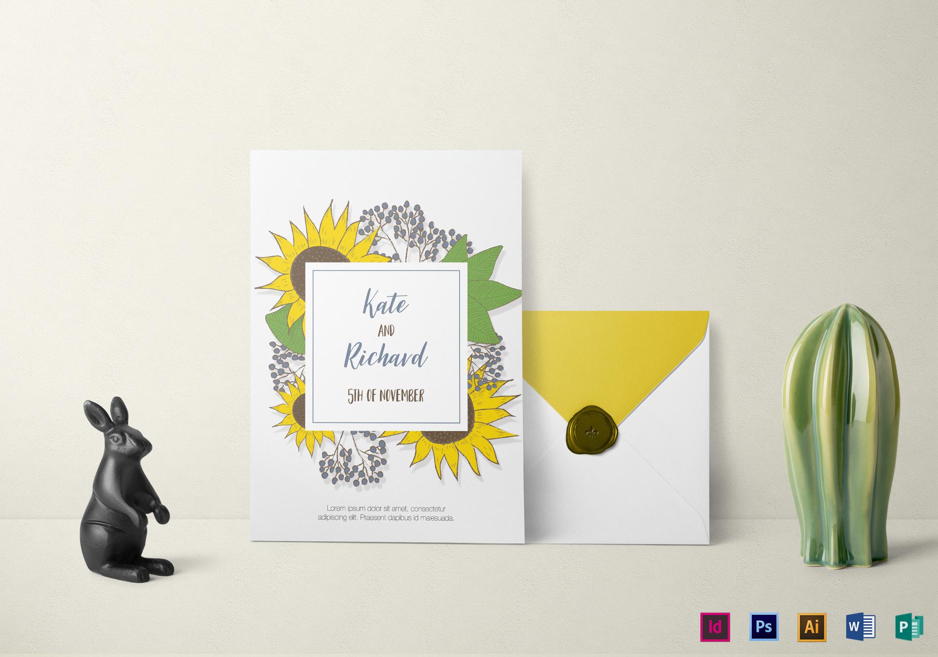 Lovely Sunflower Wedding Invitation