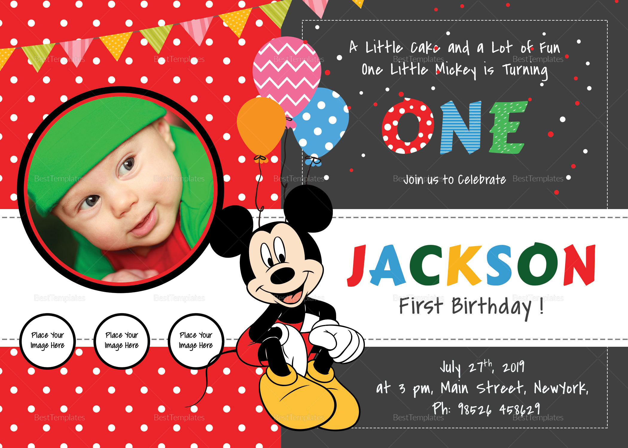 mickey mouse template for invitation