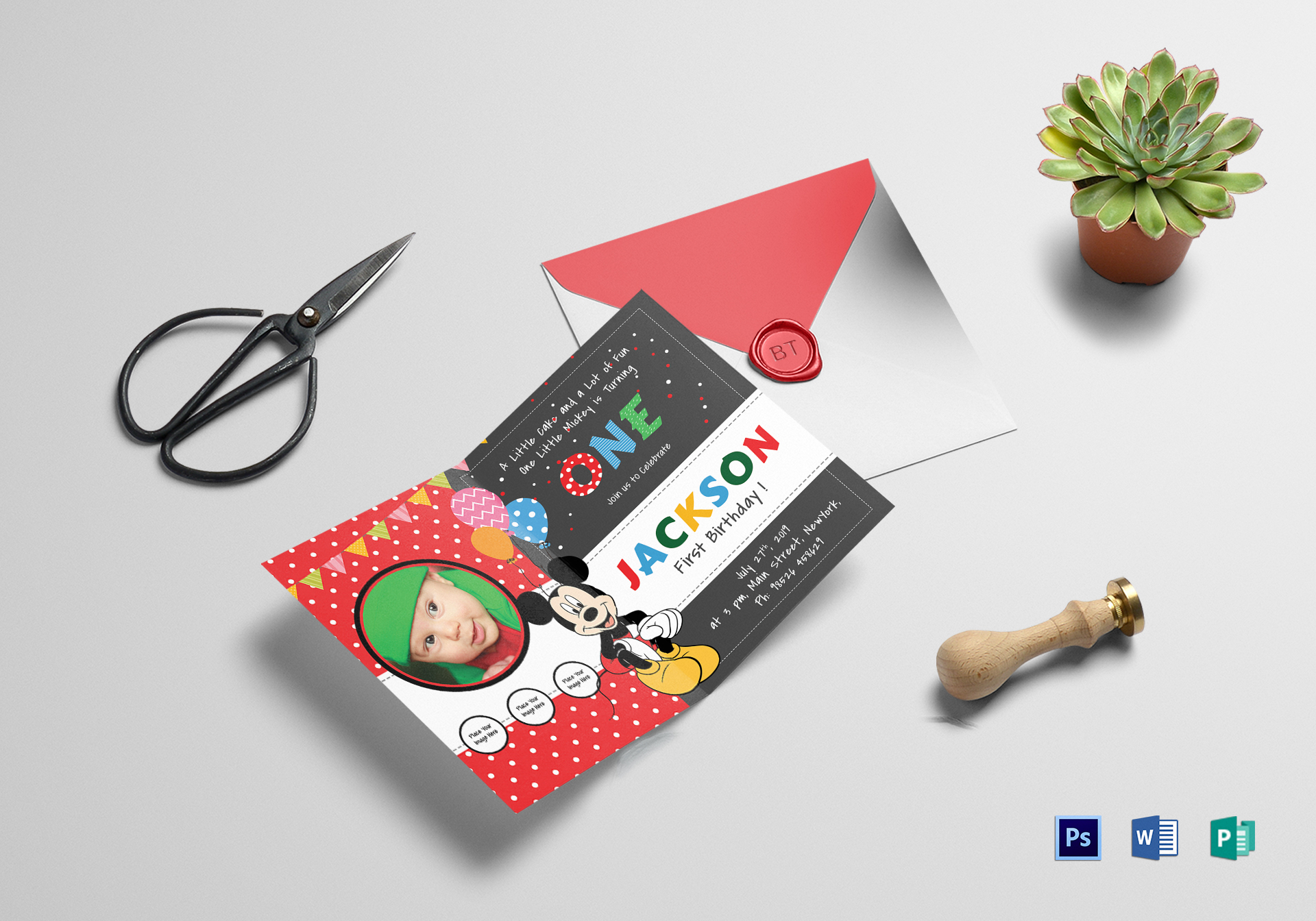 Exciting Mickey Mouse Birthday Invitation Card Design Template in ...